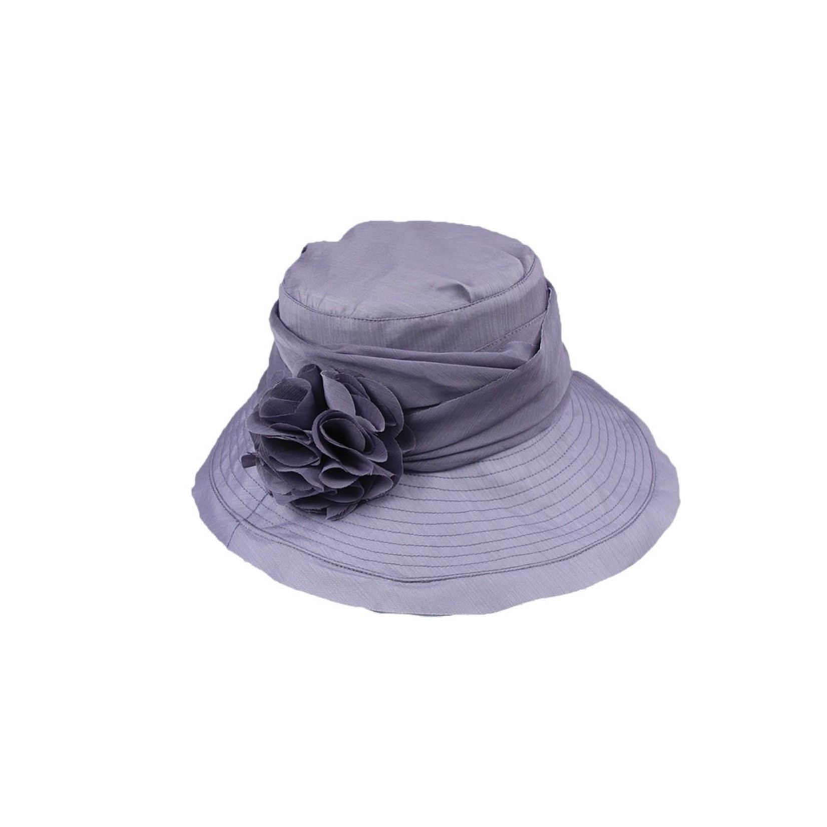 Jeanne Simmons Periwinkle Hat w/ Slanted Brim and Pleated Flower