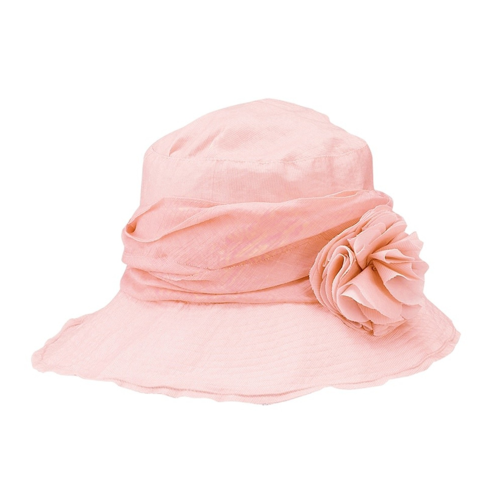 Jeanne Simmons Pink Hat w/ Slanted Brim and Pleated Flower