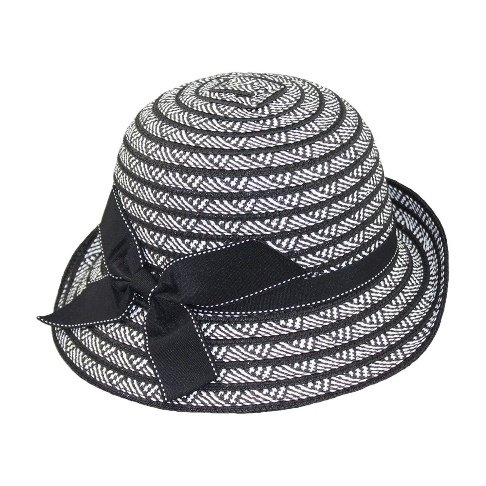 Jeanne Simmons Black and white cloche hat w/  Stitched Bow