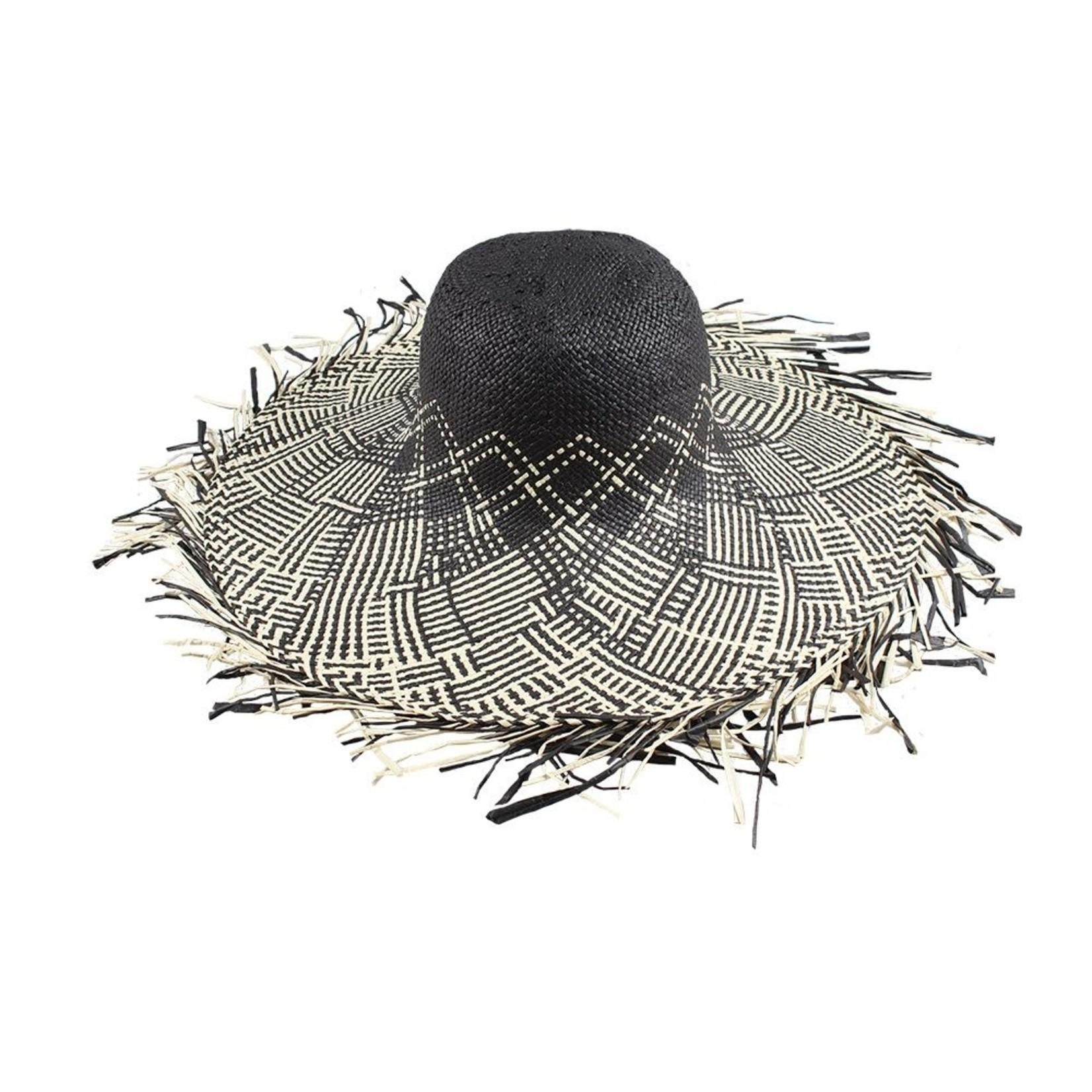 Jeanne Simmons Black and White Criss-Cross Long Fringe Hat