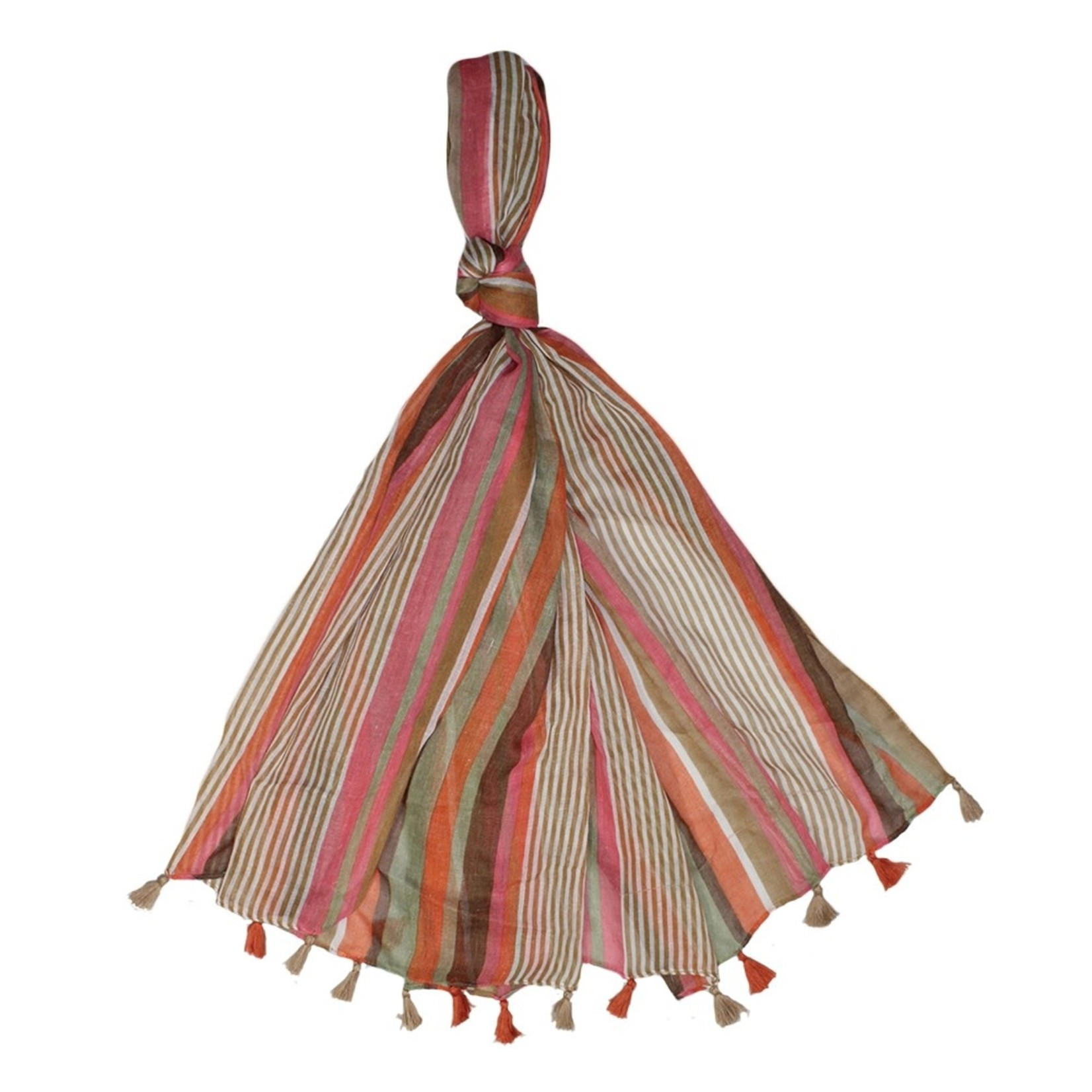 Jeanne Simmons Brown Multi-stripe Scarf w/ Tassel