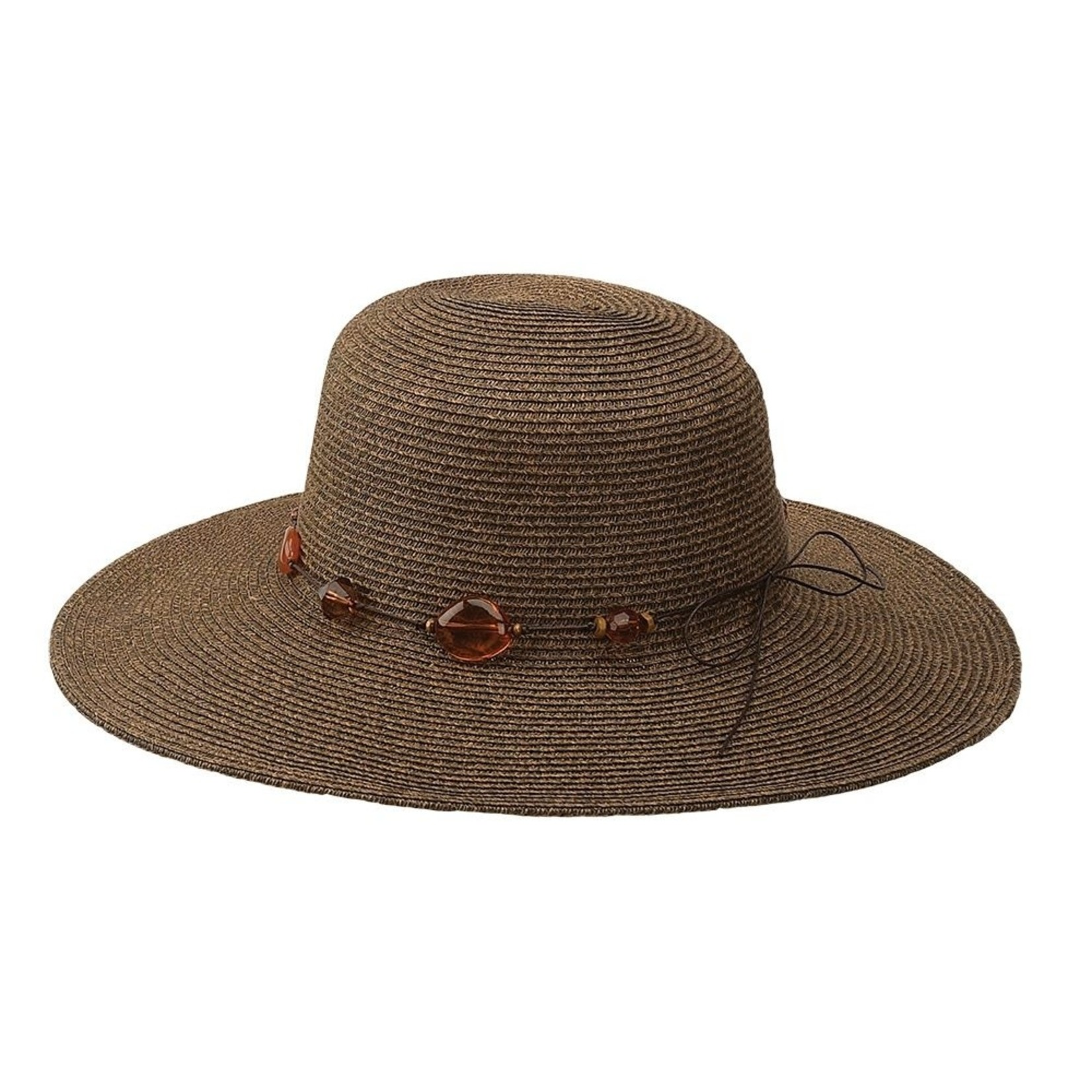 Jeanne Simmons Brown Wire Brimmed Hat w/ Beaded Tie