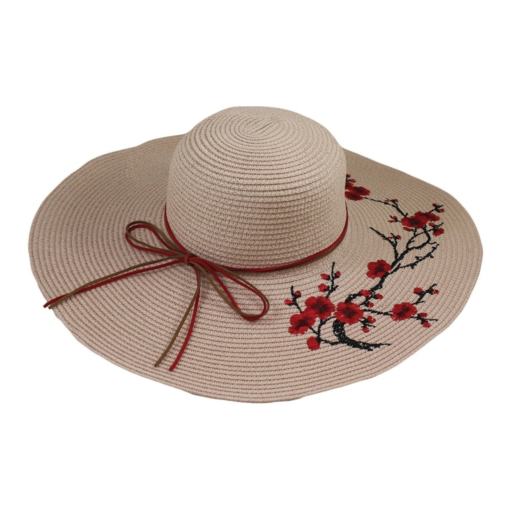 Jeanne Simmons Paper Braid Hat w/ Embroidered Red Blossom