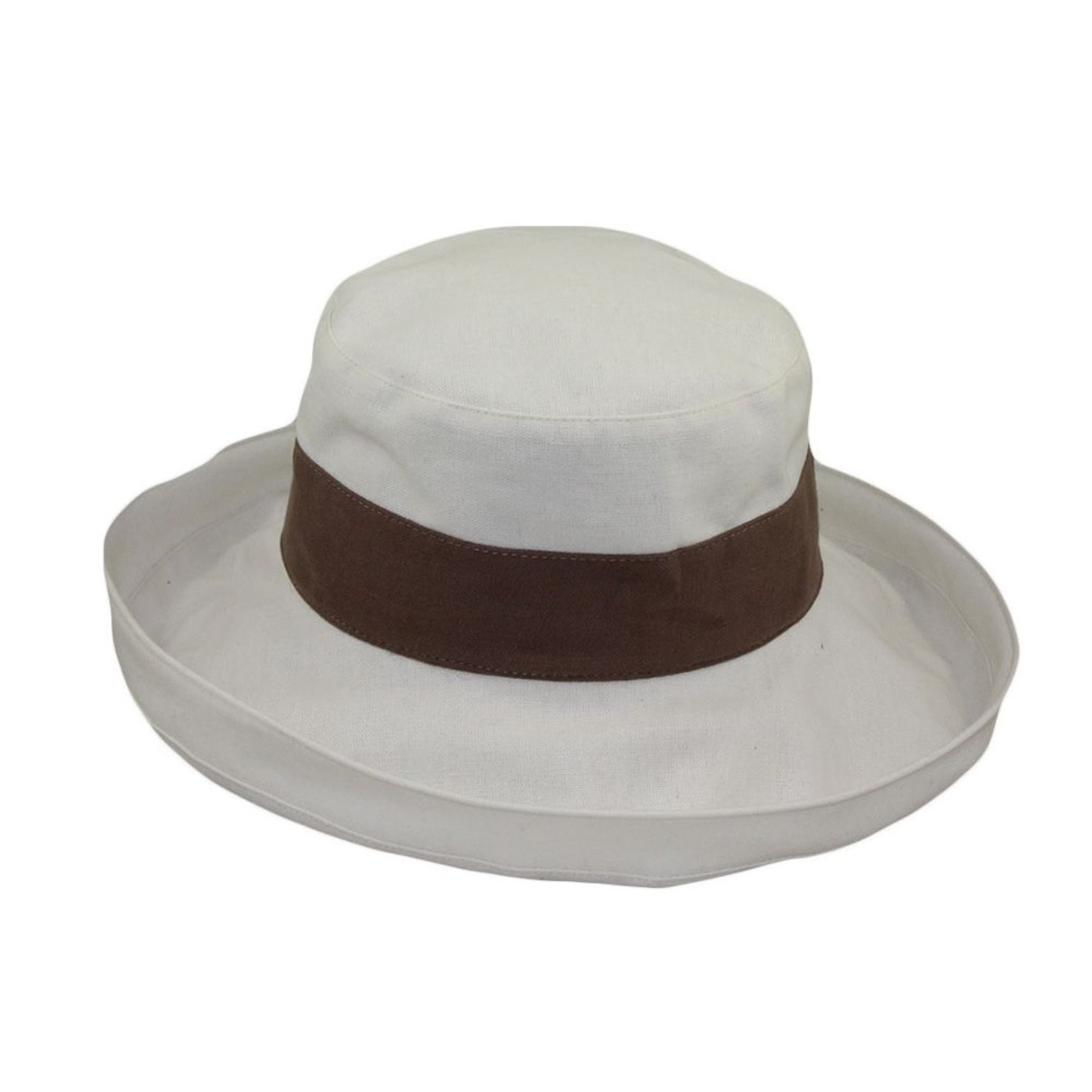 Jeanne Simmons Mocha and Beige Large Brim Canvas Bucket Hat