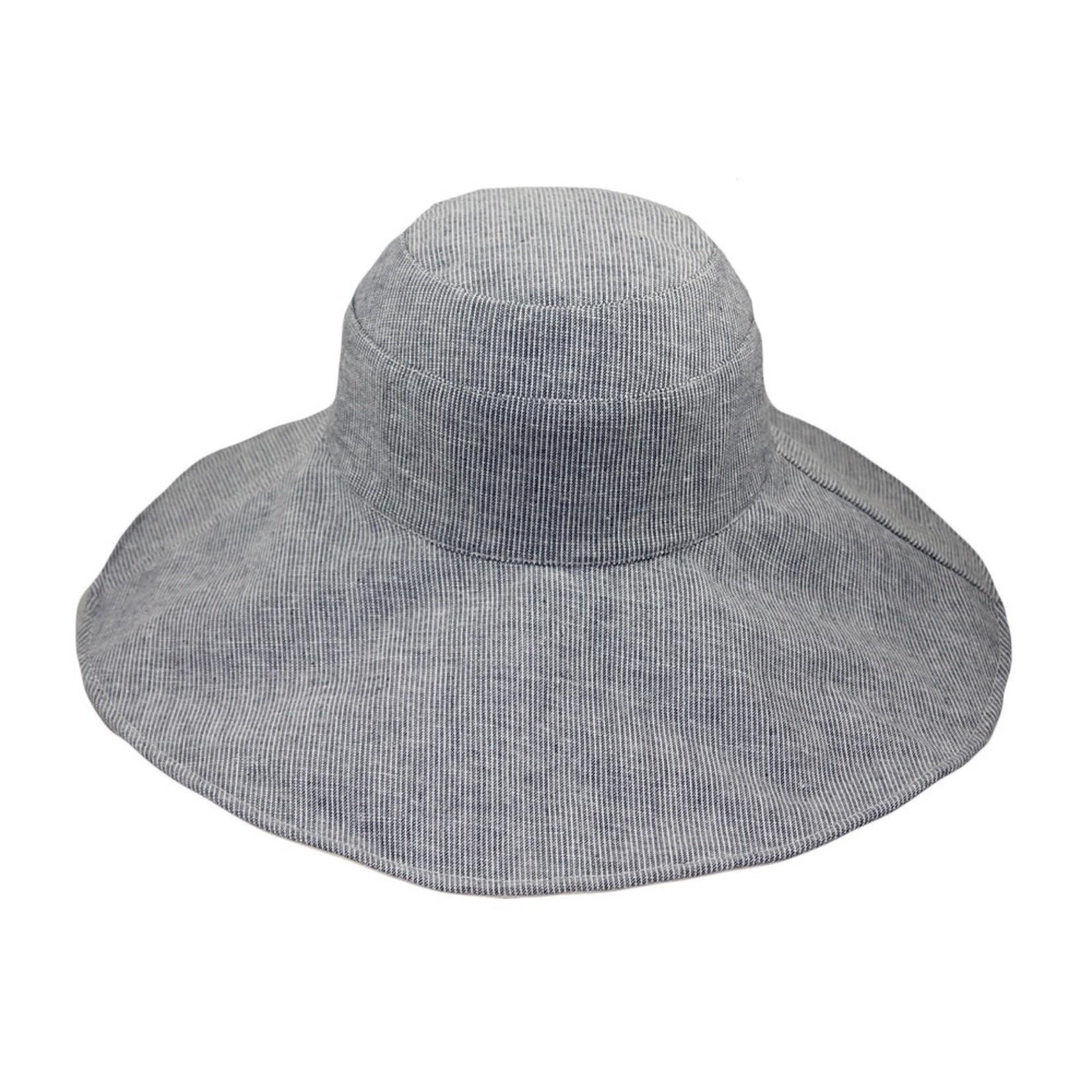 Jeanne Simmons Blue Pinstripe Reversible Brim Hat