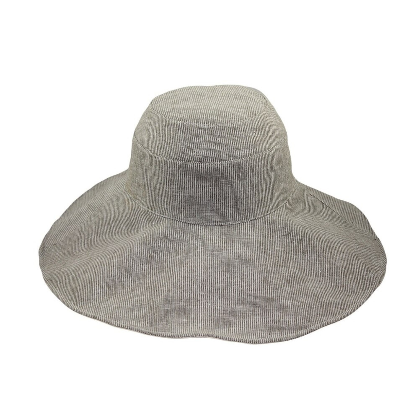 Jeanne Simmons Taupe Pinstripe Reversible Brim Hat