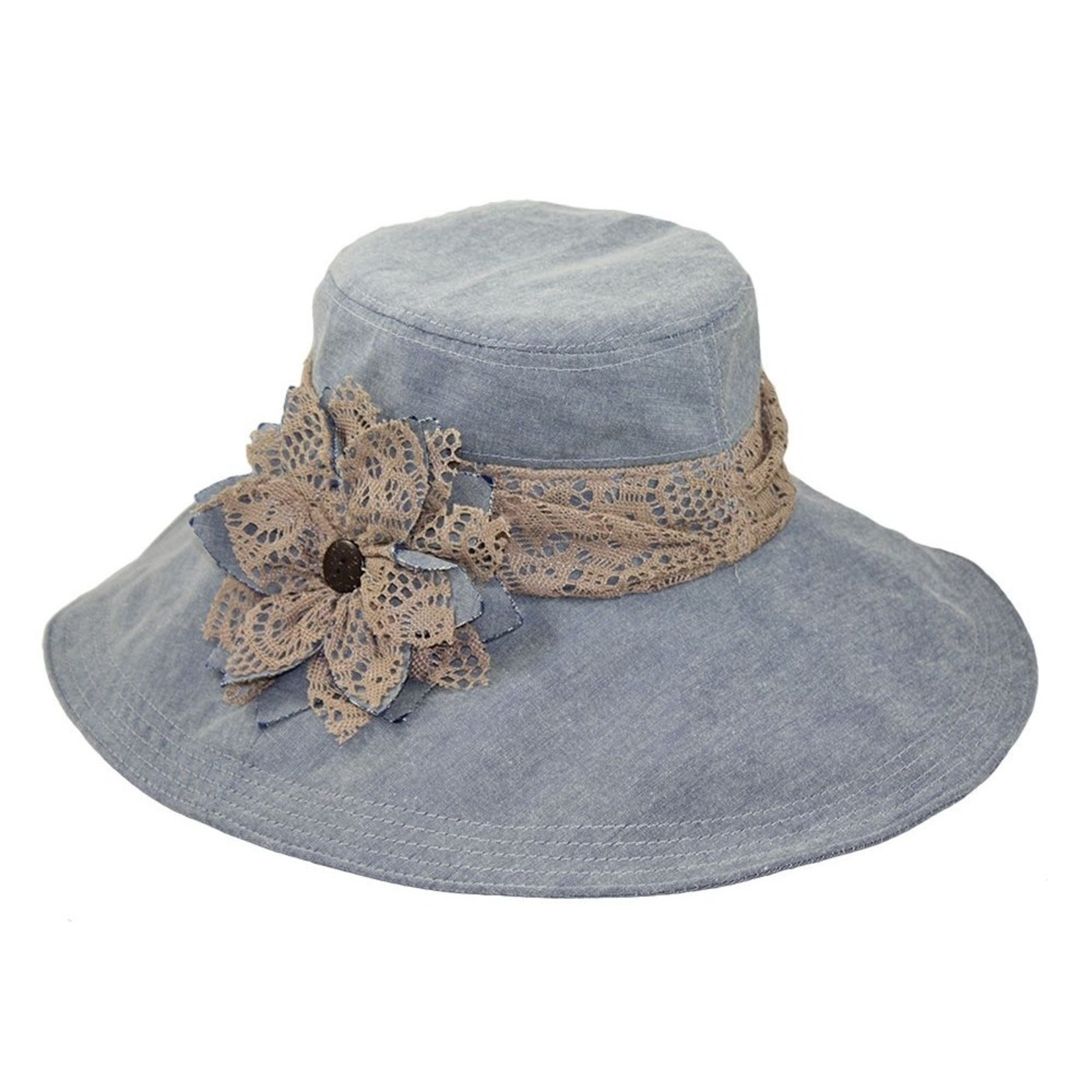Jeanne Simmons Denim Hat w/ Lace Brim and Flower Accent