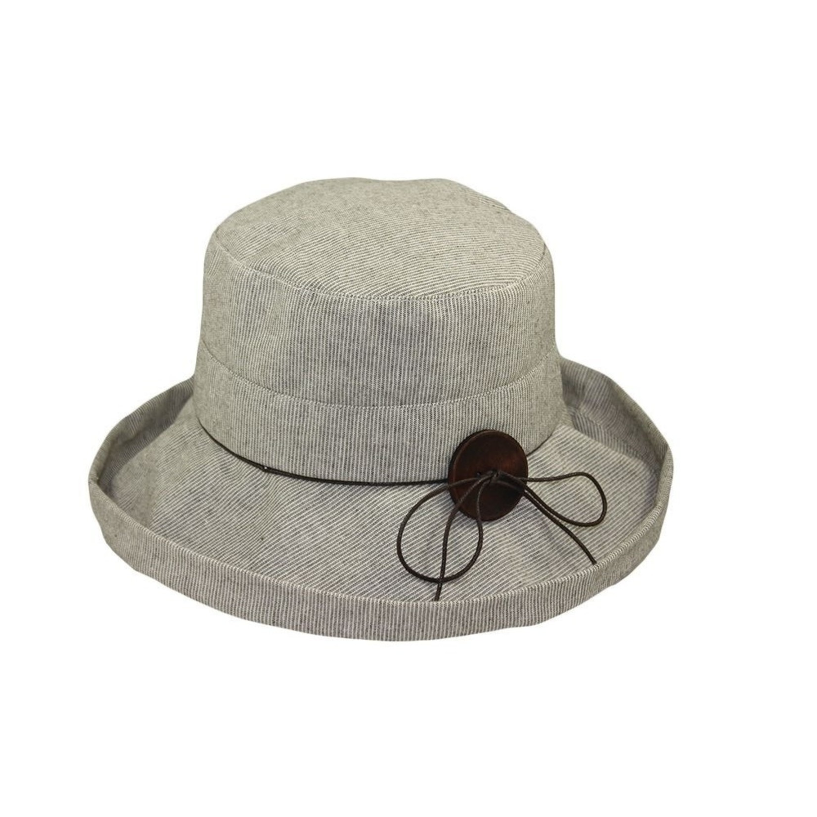Jeanne Simmons Taupe Pinstripe Turned Up Brim Bucket Hat