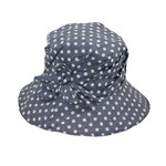 Jeanne Simmons Blue and White Polka Dot Hat w/ Flower Detail