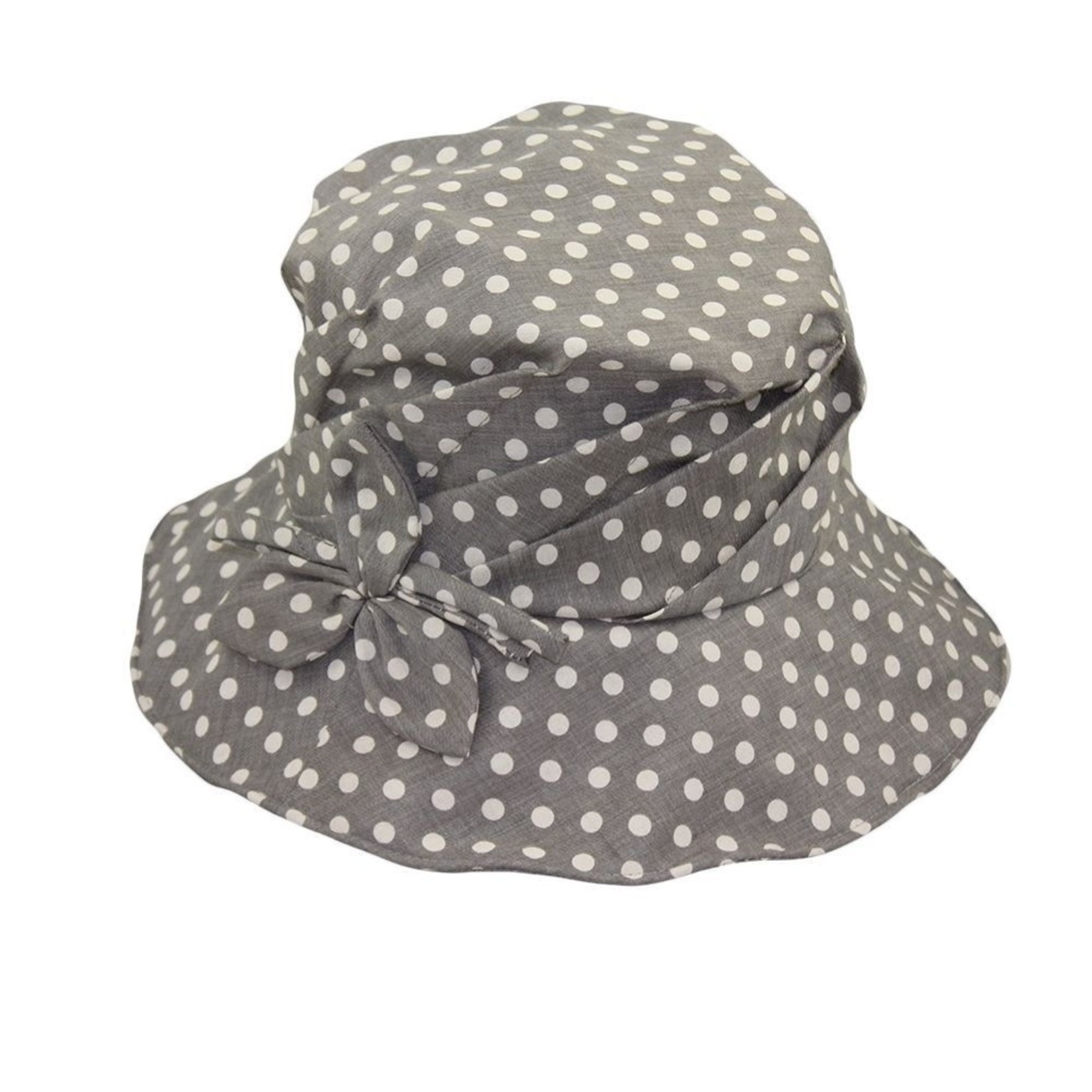 Jeanne Simmons Grey and White Polka Dot Hat w/ Flower Detail