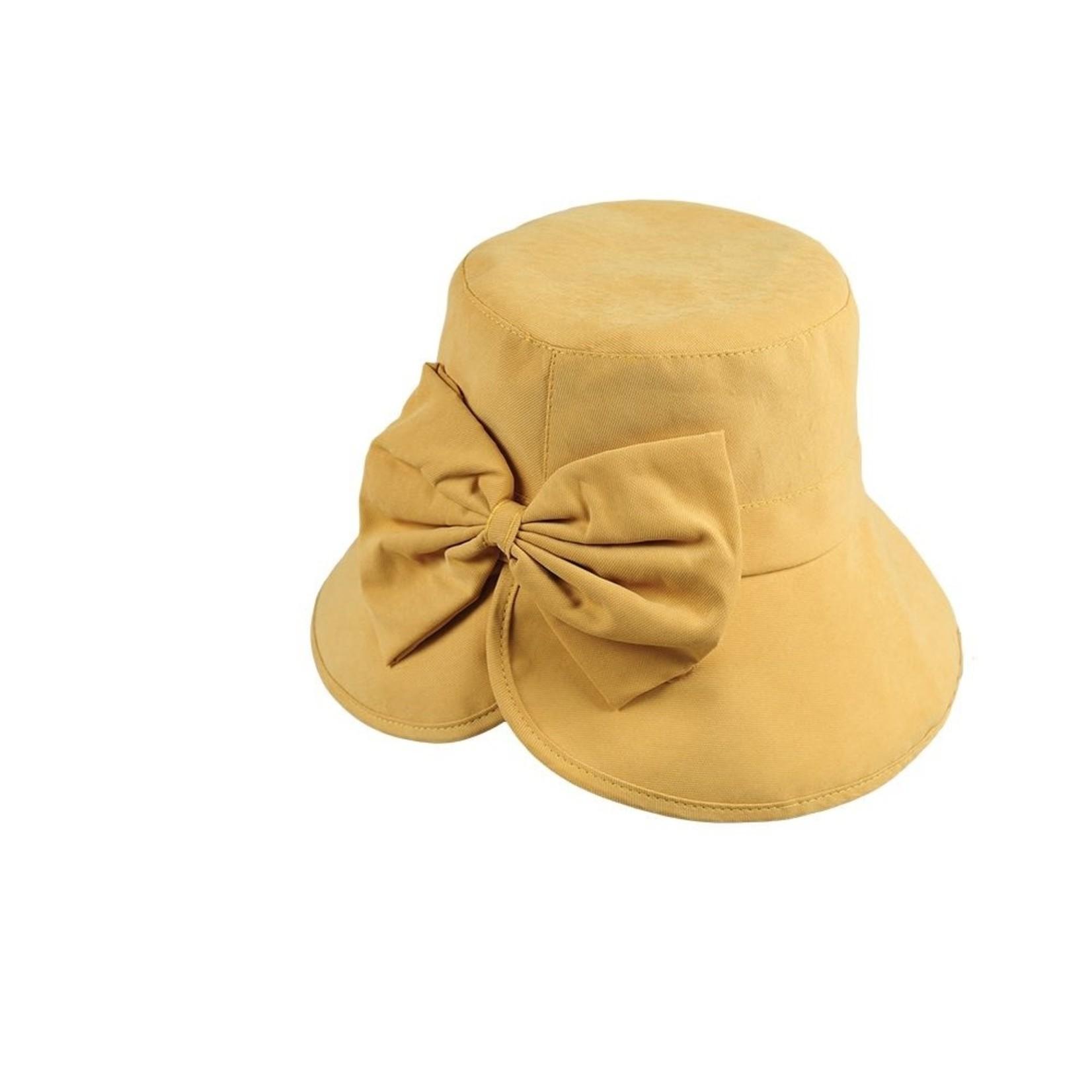 Jeanne Simmons Gold Split Brim Cloche Hat w/ Flower Detail