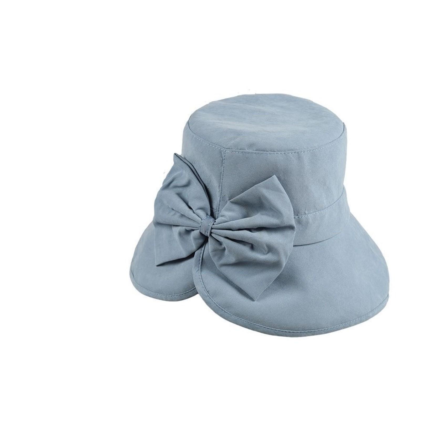 Jeanne Simmons Sky Blue Split Brim Cloche Hat w/ Flower Detail