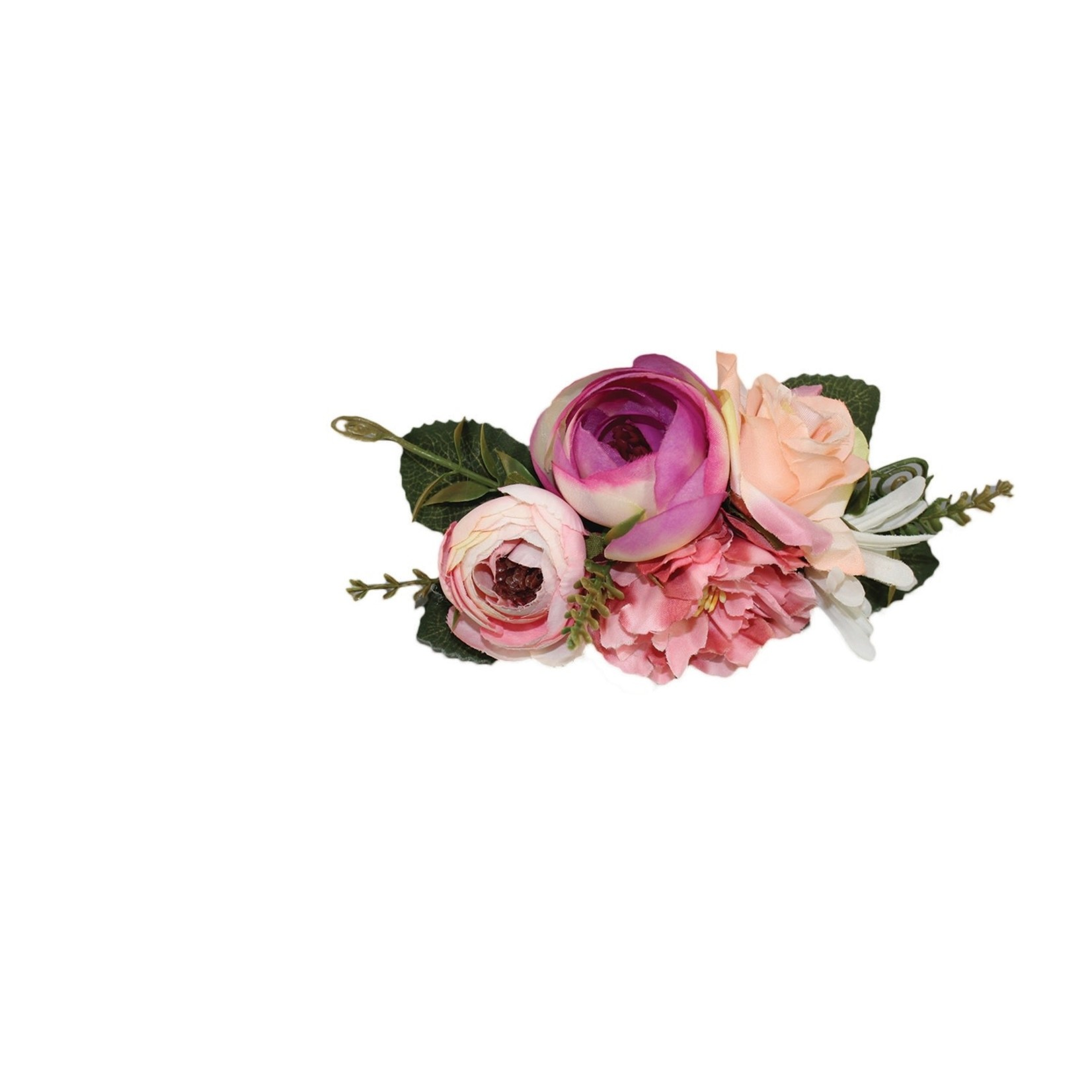 Jeanne Simmons Pink Flowers and Spring Leaves Headband
