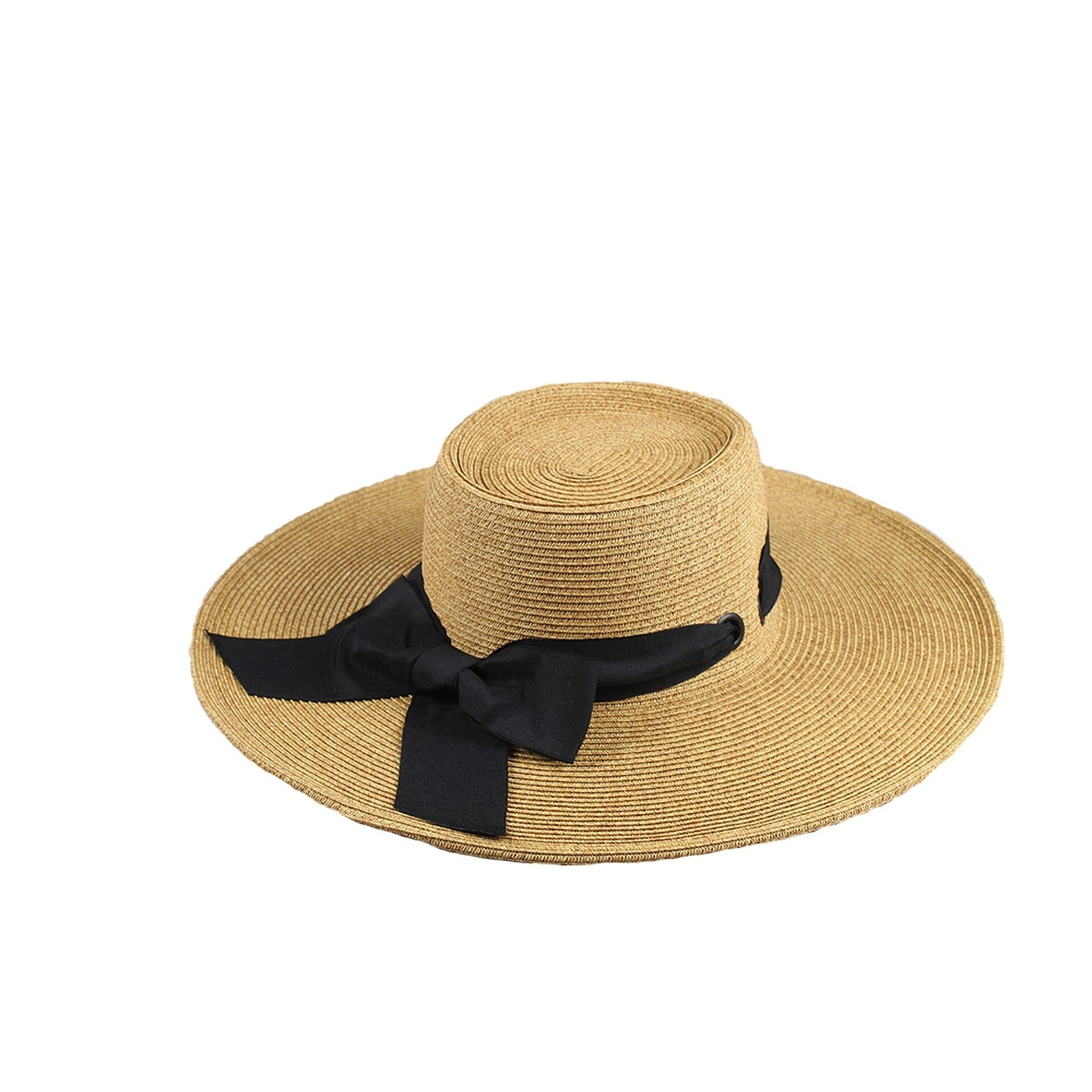 Jeanne Simmons Boater Crown Hat w/ Wide Brim and Black Ribbon
