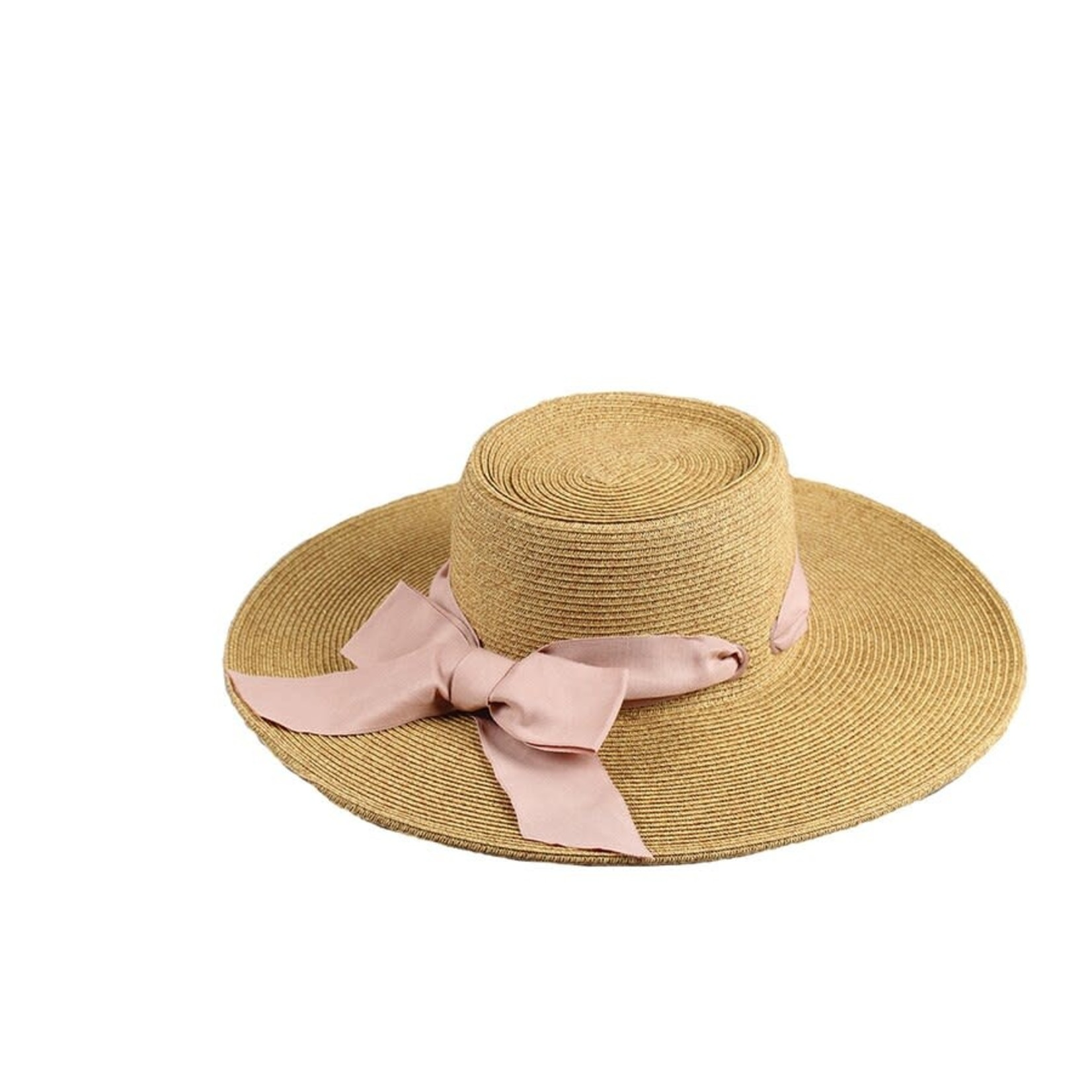 Jeanne Simmons Boater Crown Hat w/ Wide Brim and Pink Ribbon