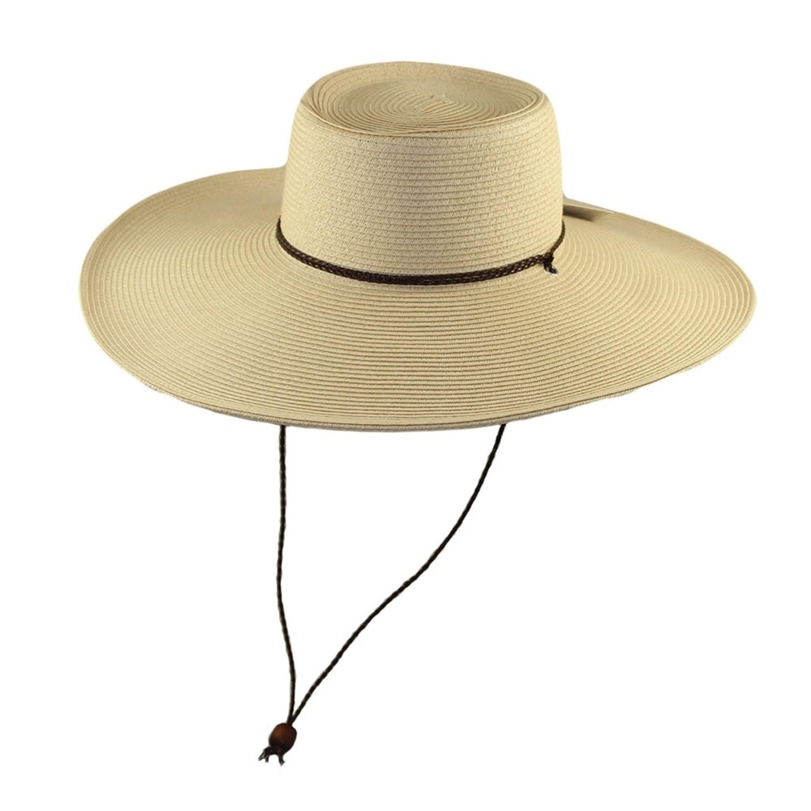 Jeanne Simmons Natural Braid Gambler Hat w/ Chin Cord