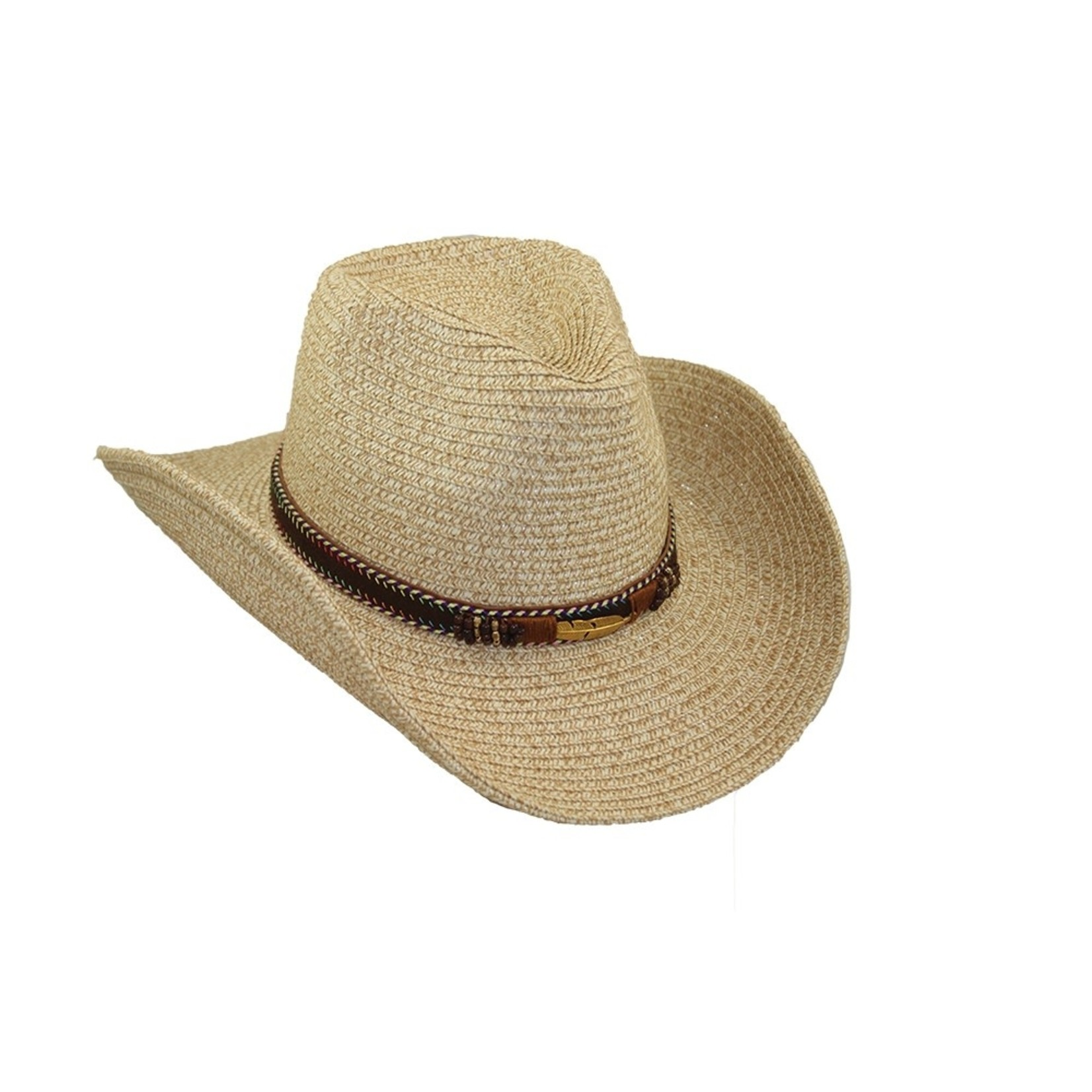 Jeanne Simmons Decorated Leatherette Band Cowboy Hat in Natural