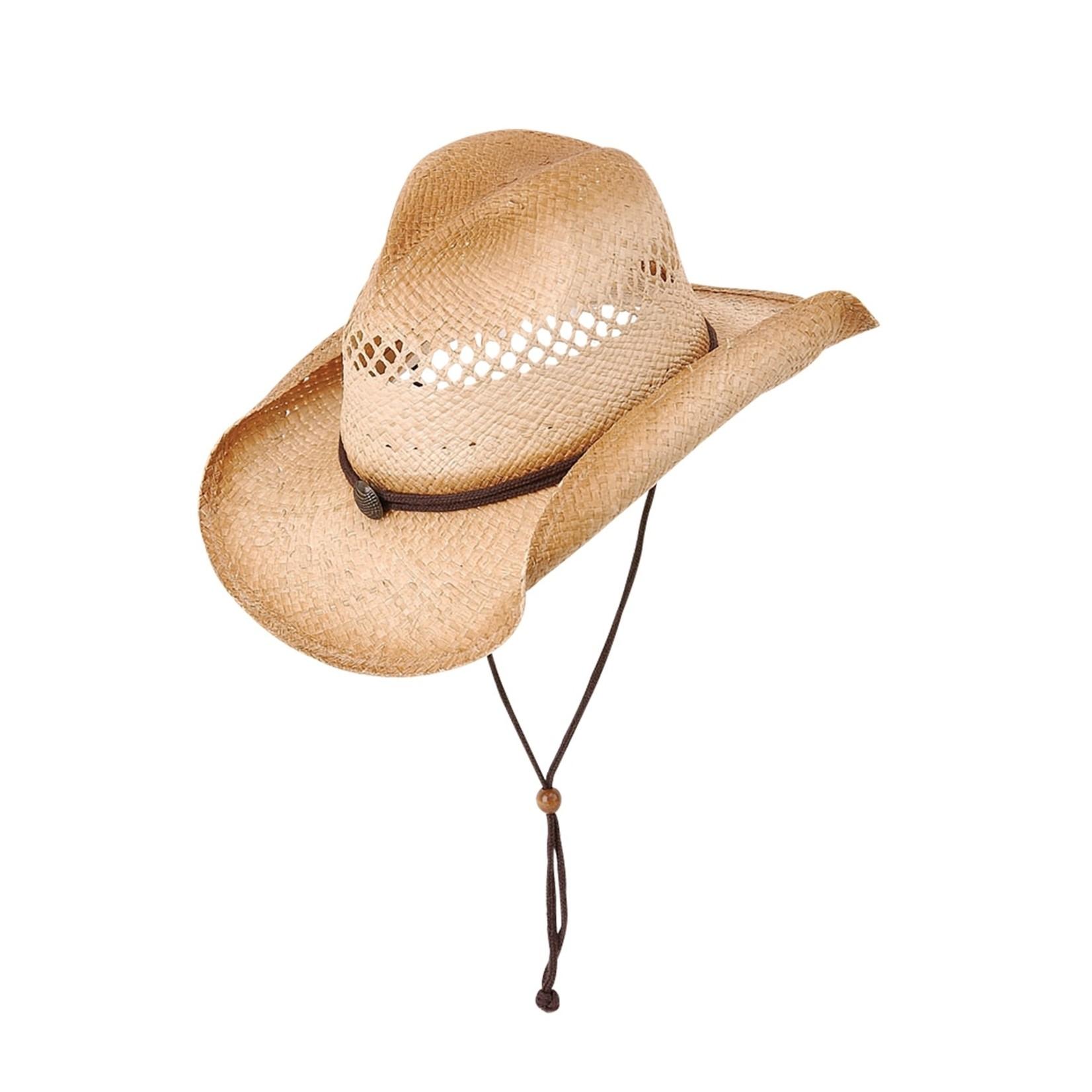 Jeanne Simmons Raffia Cowboy Hat w/ Chin Cord Strap