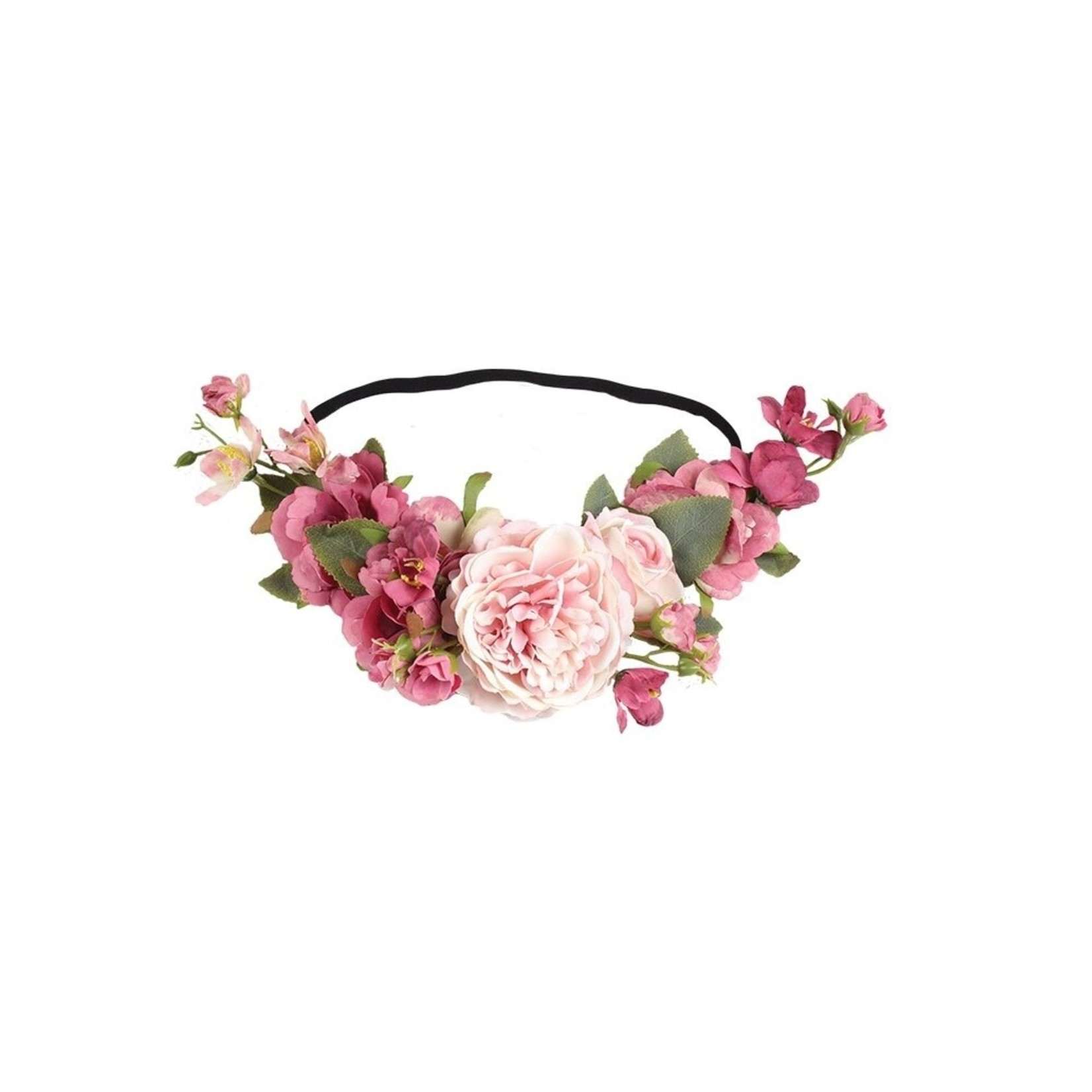 Jeanne Simmons Pink Floral Crown Elastic Band Headband
