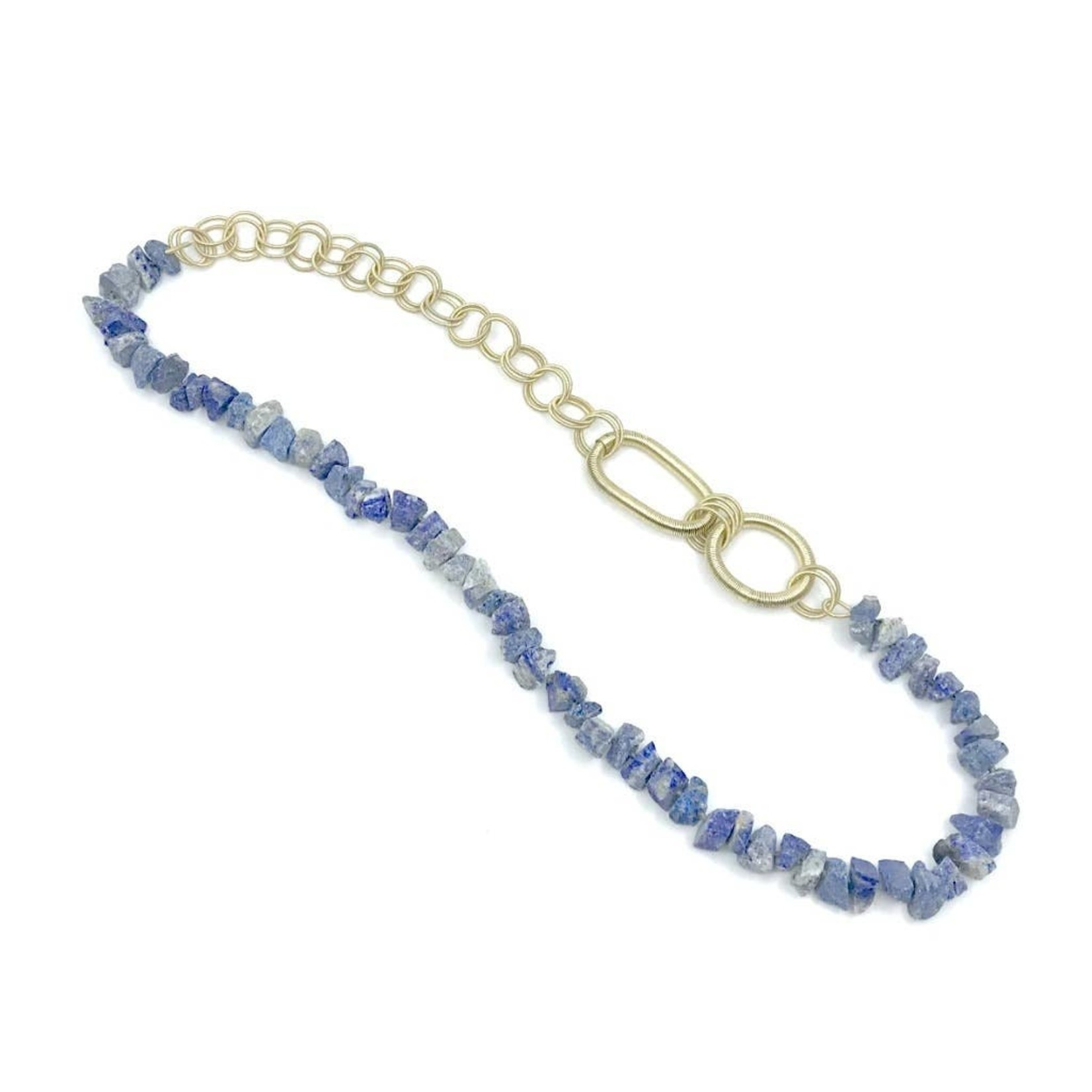 Sea Lily Necklace/Stone/WireInterlockingRings/MultiSize Gold Lapis