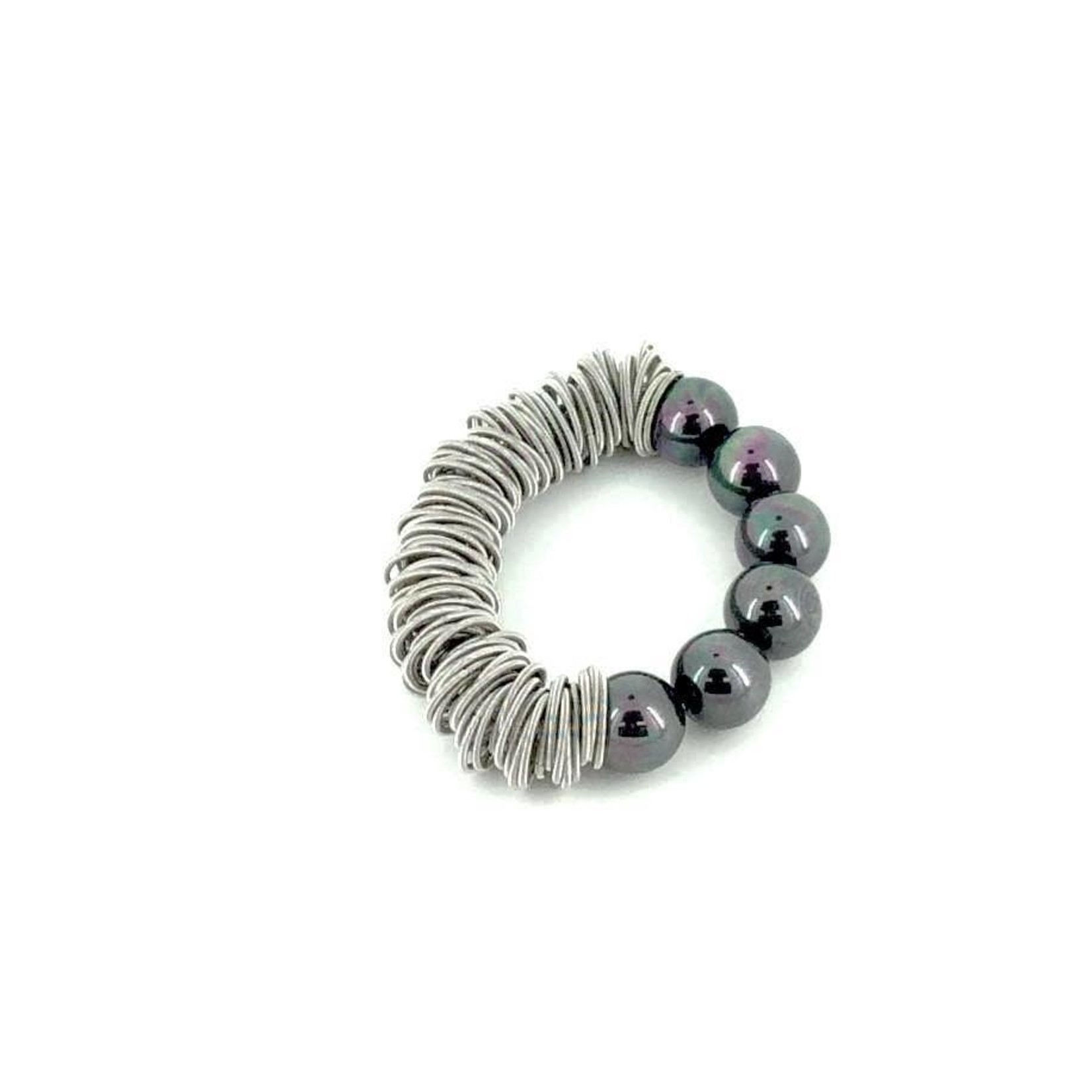 Sea Lily Silver Piano Wire Spring Ring Bracelet w/ Black Mother of Pearl Beads