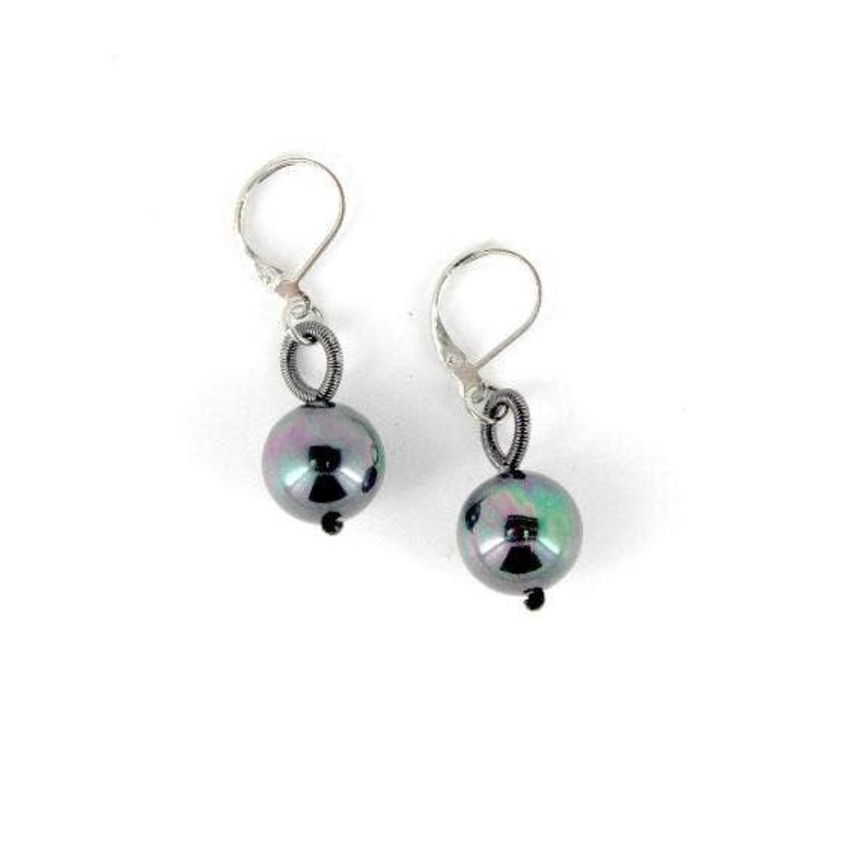 Sea Lily Slate Piano Wire Earrings w/ Black Pearl
