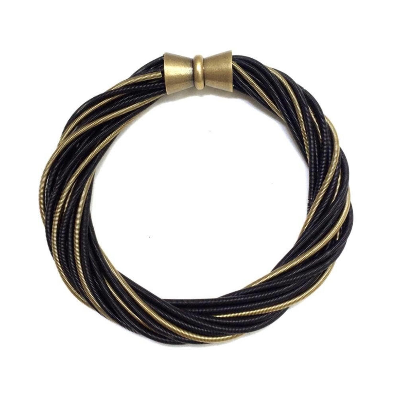 Sea Lily Black/Bronze Twist Bracelet with Magnetic Clasp