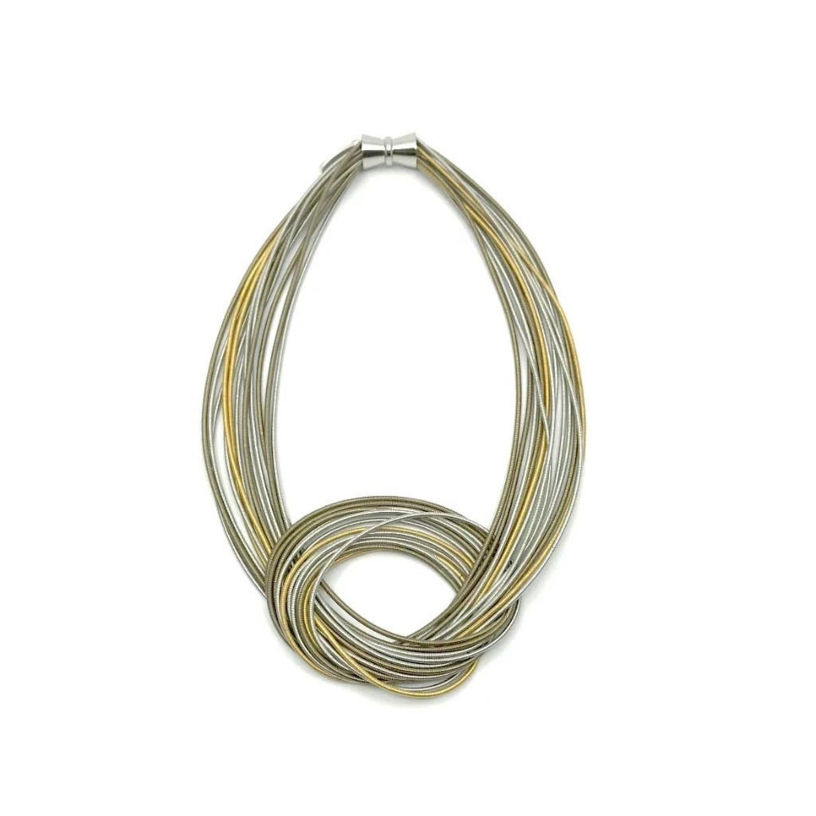Sea Lily Piano Wire Large Knot Silver/gold Multi