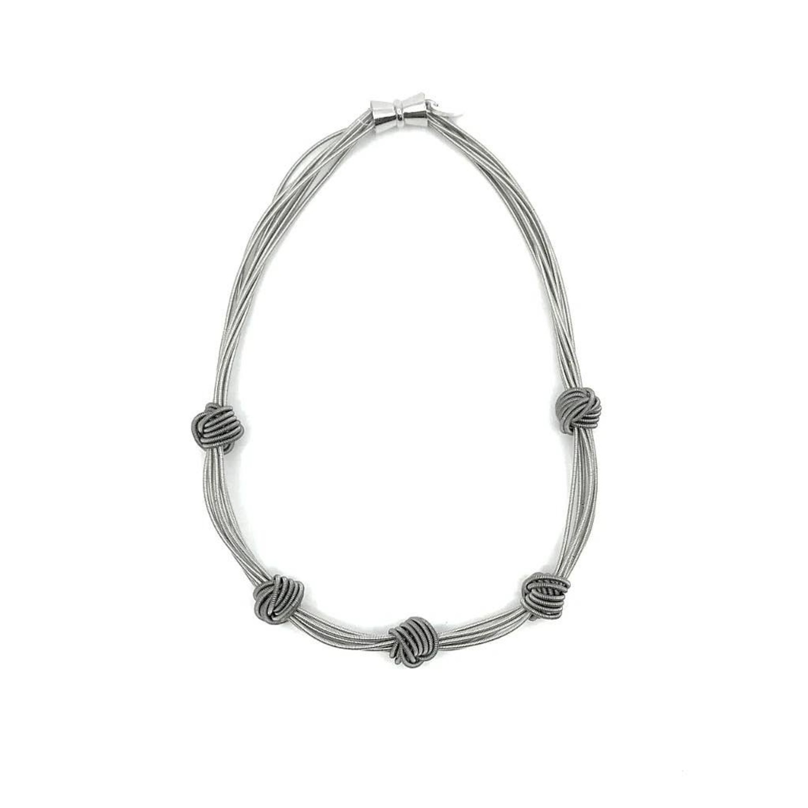 Sea Lily Silver Piano Wire Necklace with 5 Slate Knots