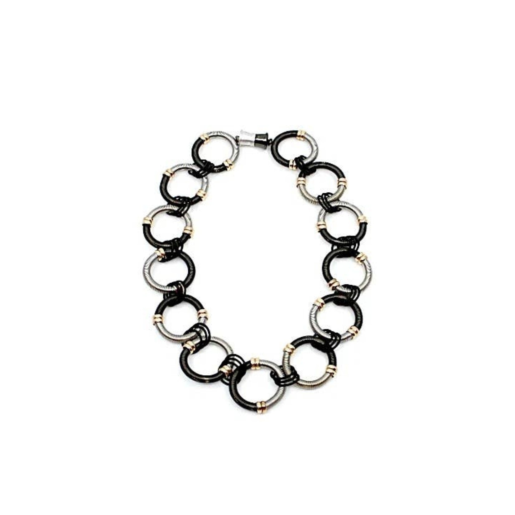 Sea Lily Large Round Black/Silver Piano Wire Rings Short Necklace