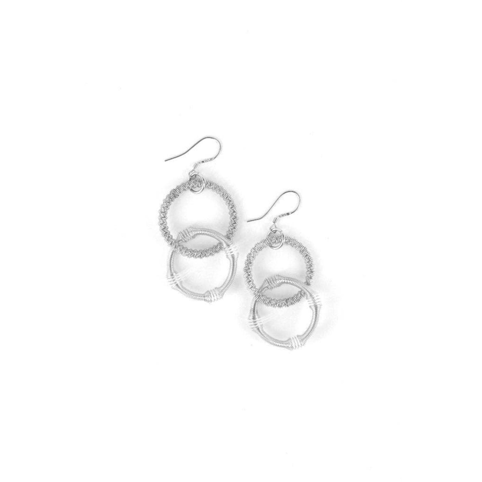 Sea Lily Silver Double Loop Multi Texture Earrings