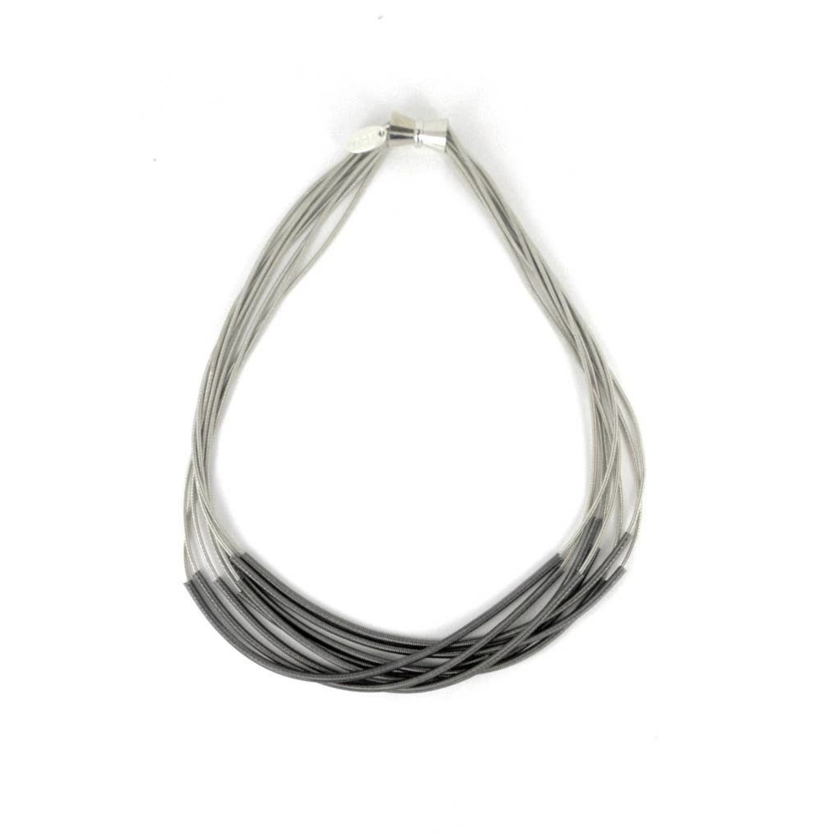Sea Lily Silver Piano Wire Necklace w/ Slate Sleeve