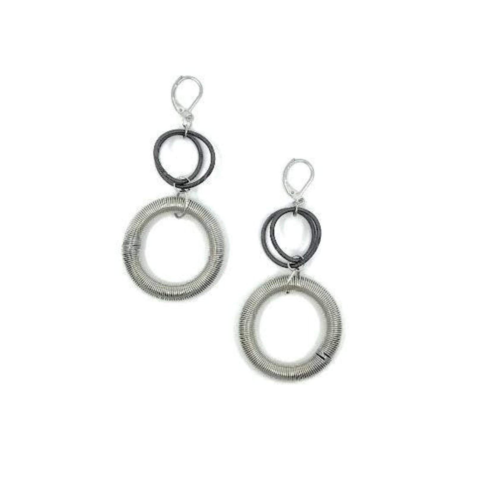 Sea Lily Silver/Slate Large Loop Drop Earrings