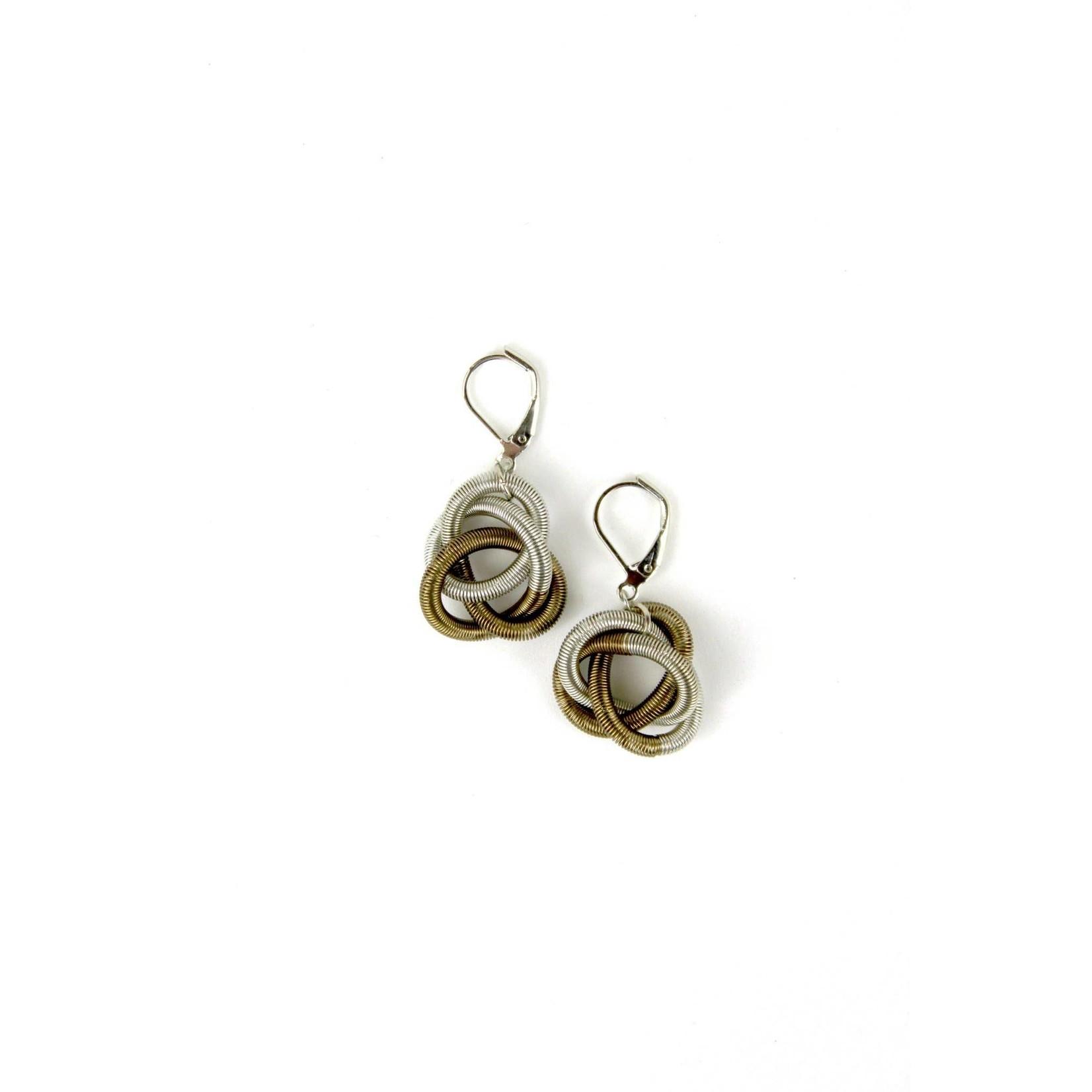 Sea Lily Silver/Bronze Floating Knot Piano Wire Earrings