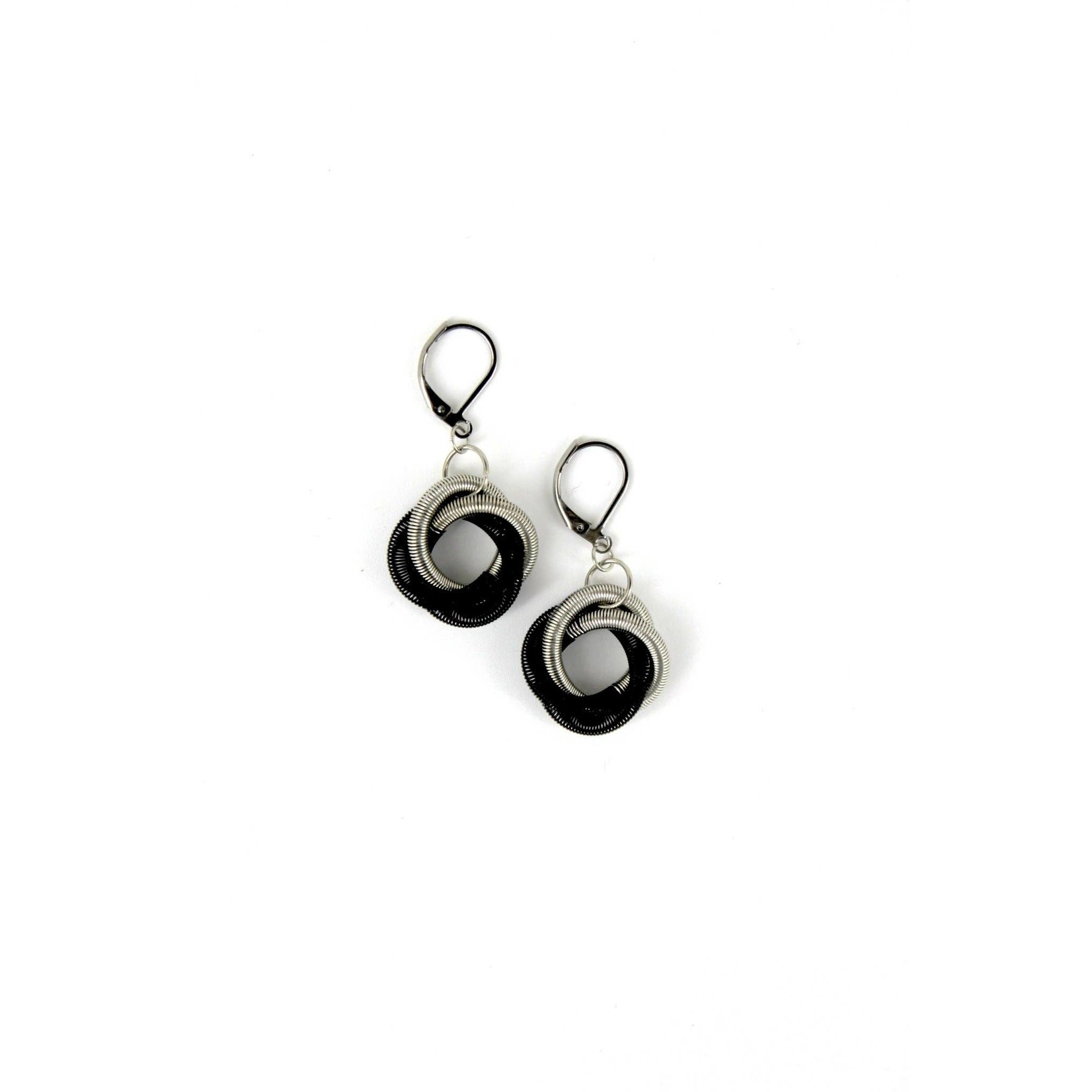 Sea Lily Silver/Black Floating Knot Piano Wire Earrings
