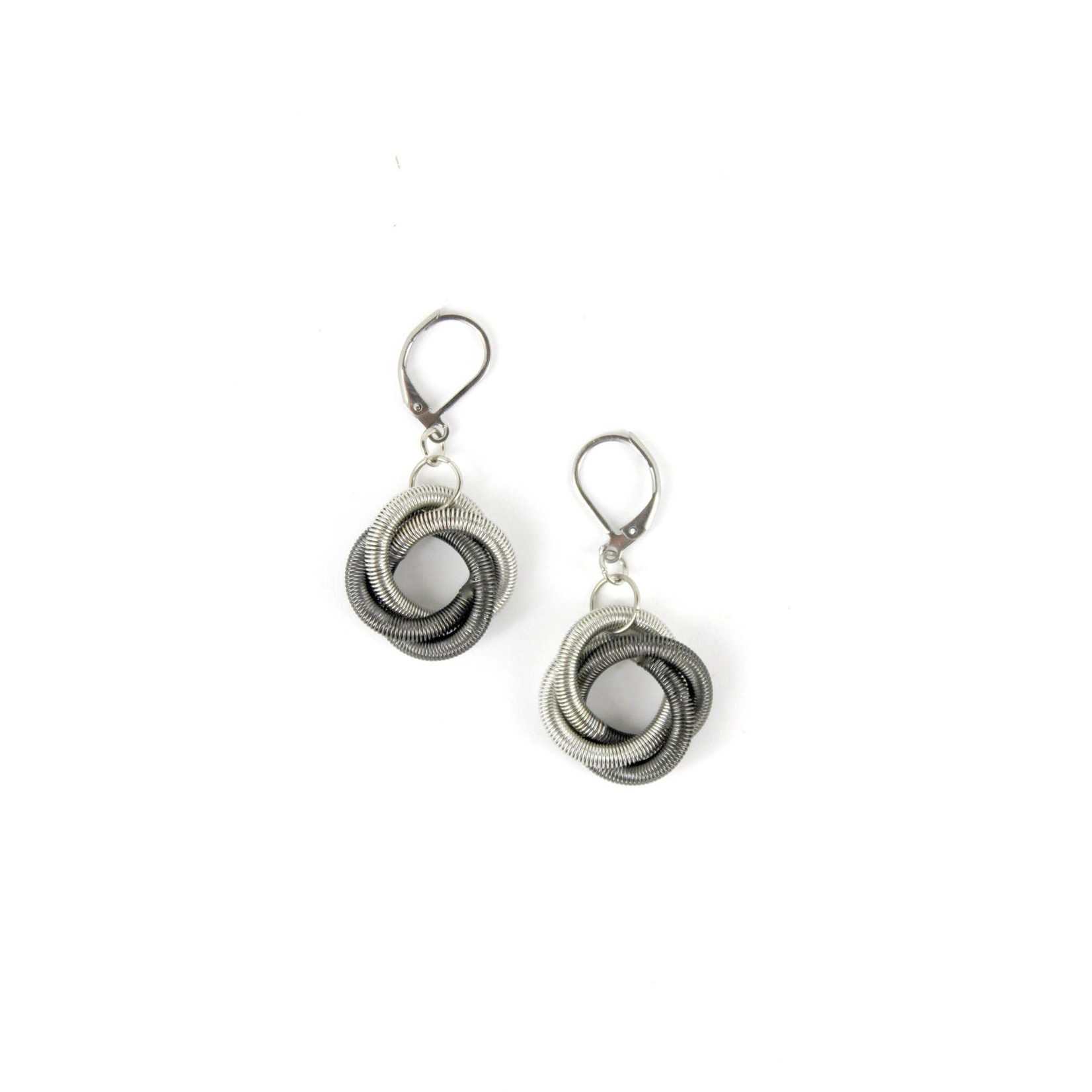 Sea Lily Silver/Slate Floating Knot Piano Wire Earrings