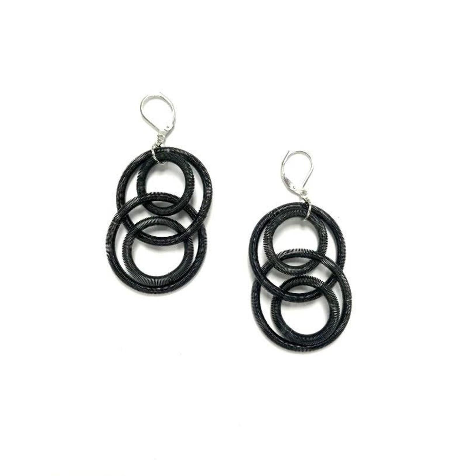 Sea Lily Black Large Loop Multi Piano Wire Earrings