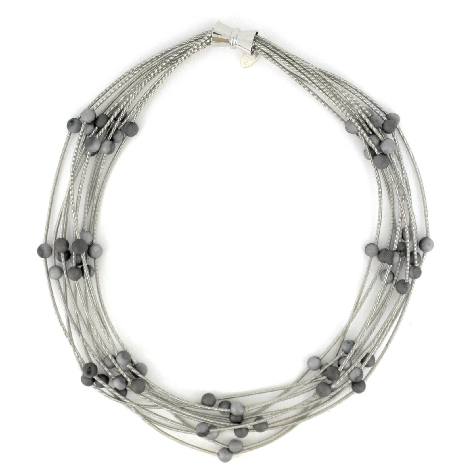 Sea Lily 10 Layer Silver Piano Wire Necklace w/Silver/Slate Geodes