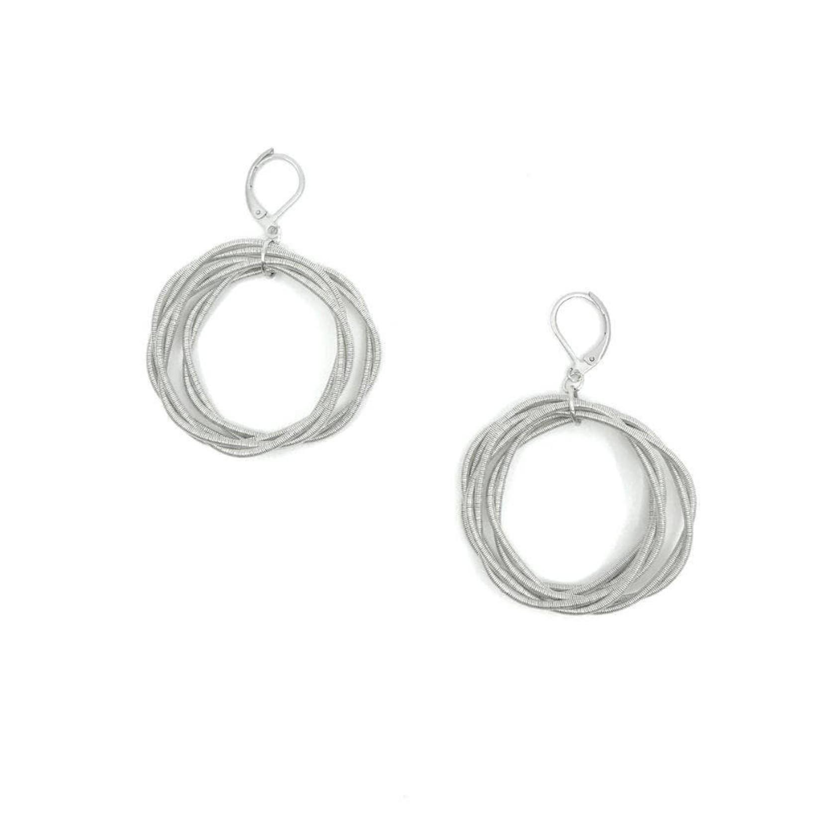 Sea Lily Silver Twist Loop Piano Wire Earrings