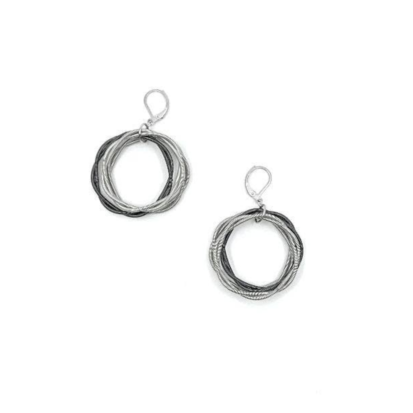 Sea Lily Silver/Slate Twist Loop Earrings