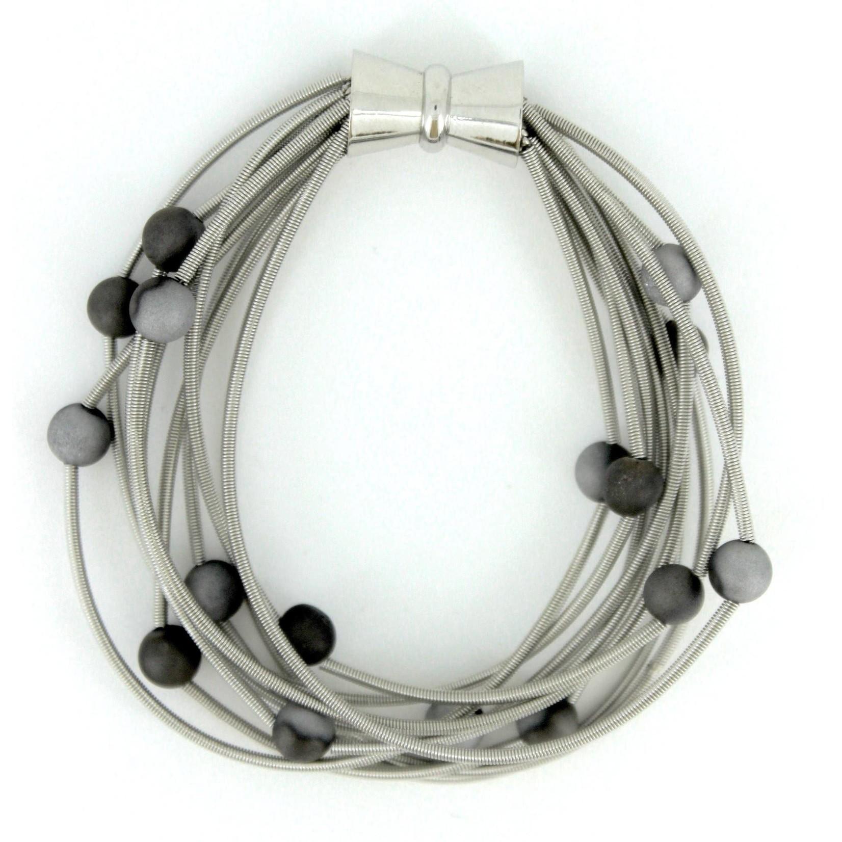 Sea Lily 10 Layer Silver Piano Wire Bracelet w/ Silver/Slate Geodes