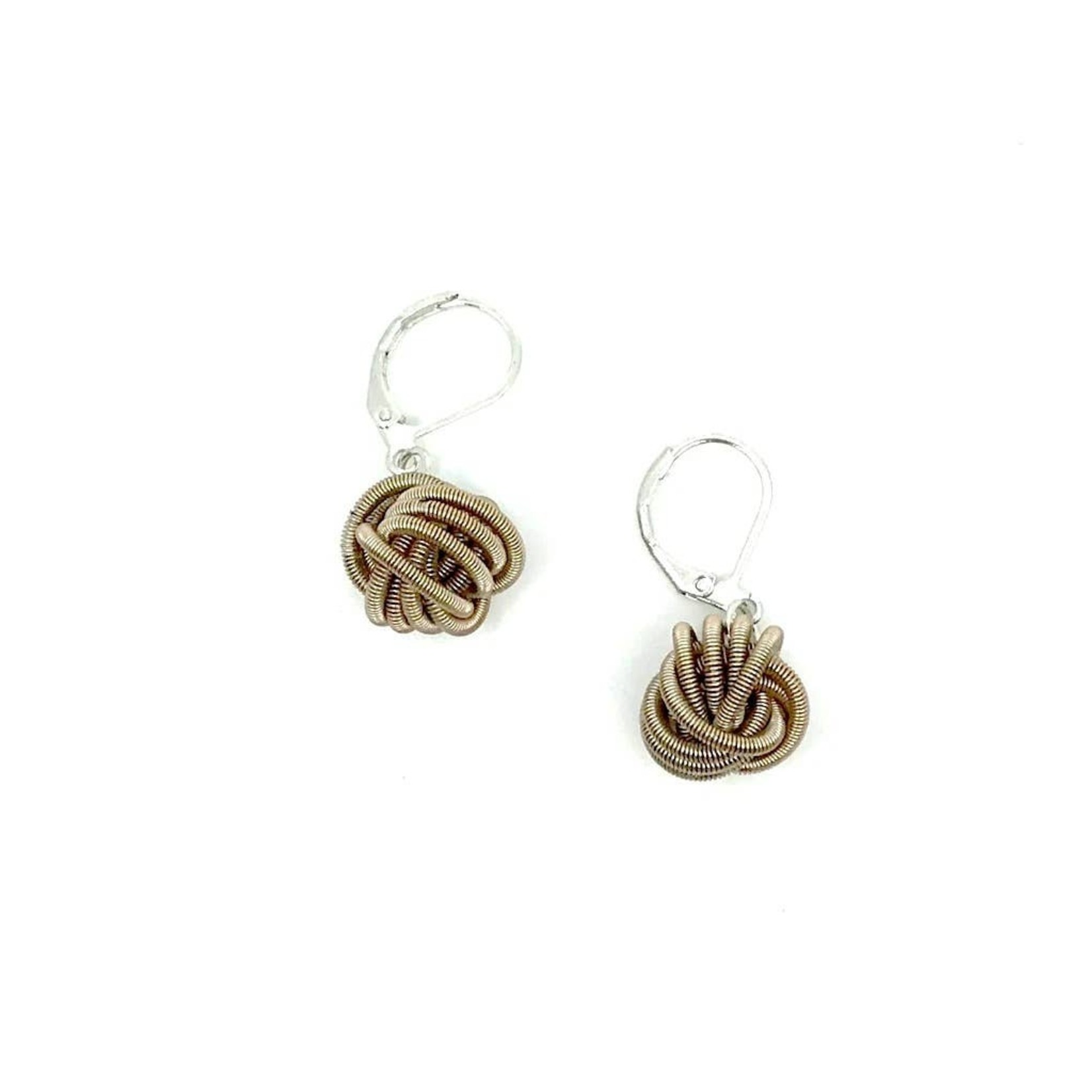 Sea Lily Champagne Piano Wire Knot Earrings