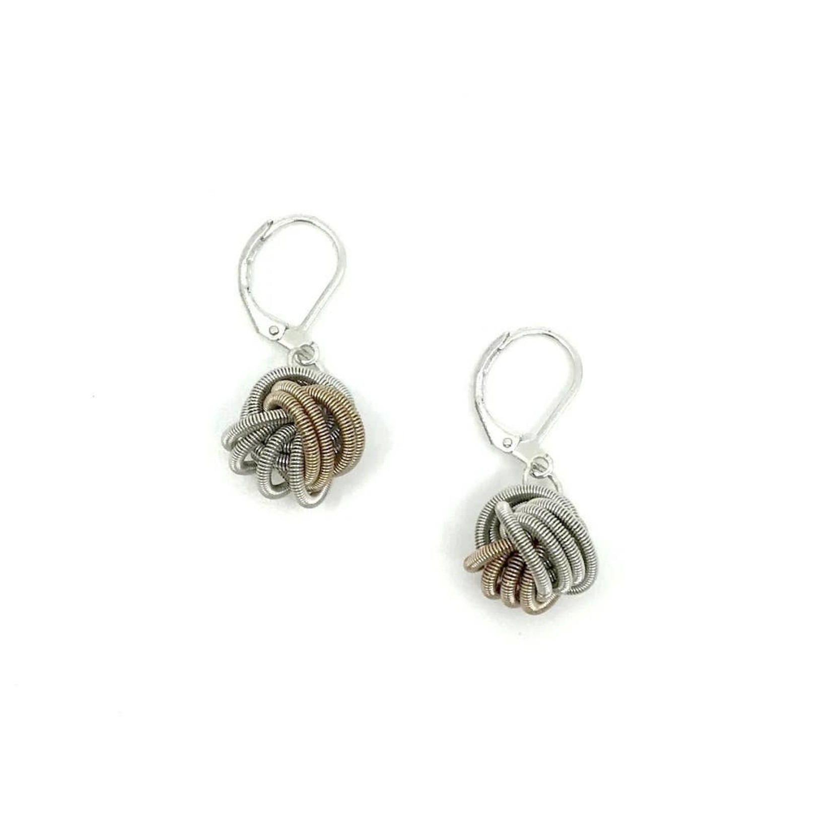 Sea Lily Champagne/Silver Piano Wire Knot Earrings