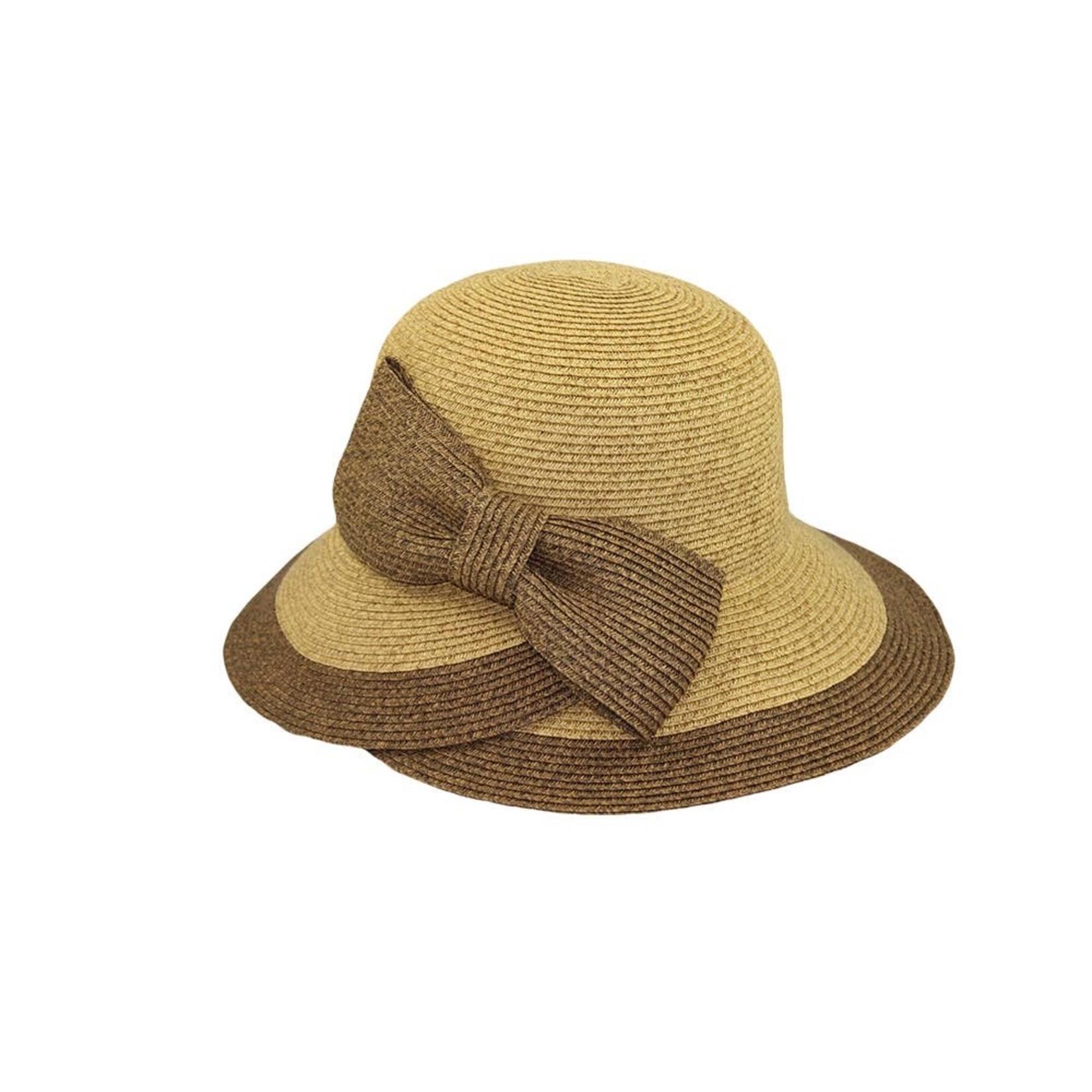 Hat Stack 70765 Hat w/Large Brown Tweed Bow