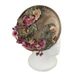 Hat Stack 73997 Fascinator Vintage Floral On Mocha Disc