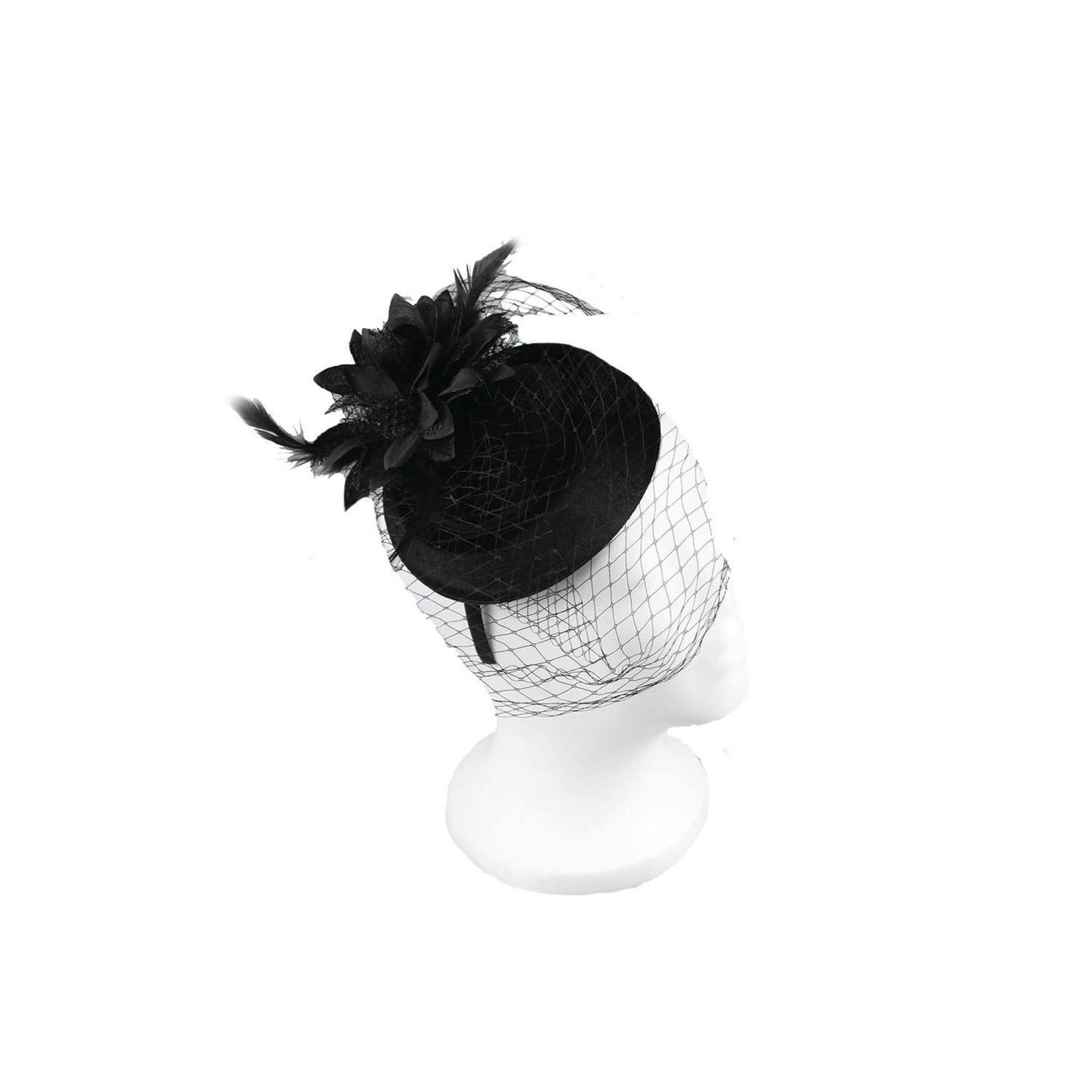 Hat Stack Black Fascinator/VelvetDiscSilkFlwr&DuckPliers