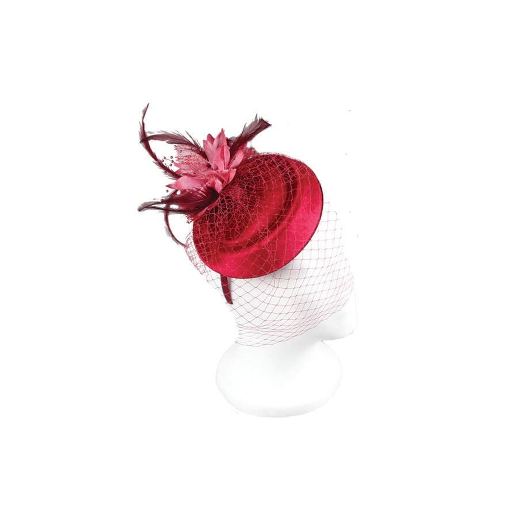 Hat Stack Burgundy Fascinator/VelvetDiscSilkFlwr&NetHdbndDuckPliers Burgundy