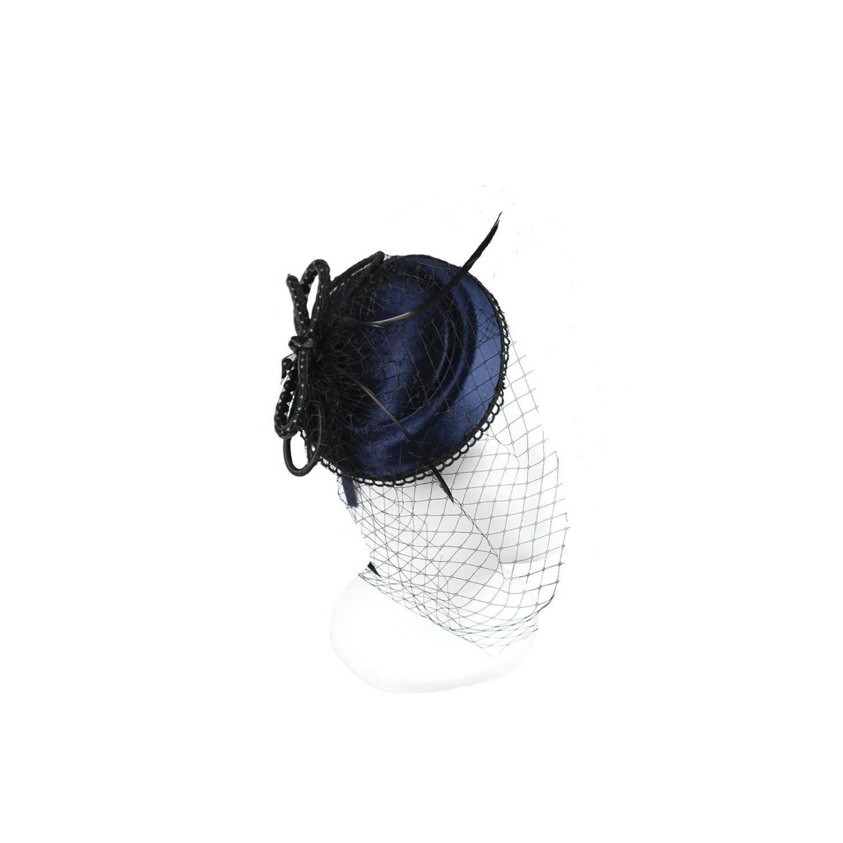 Hat Stack Fascinator/SatinDiscVelvetBowScallopEdgeNet Dk Blue