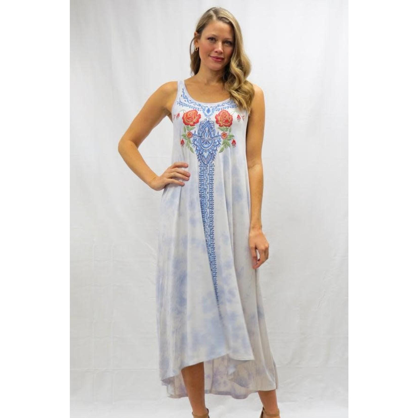 Caite Mollie Sky Blue Tye Dye Maxie w/ Embroidered Design