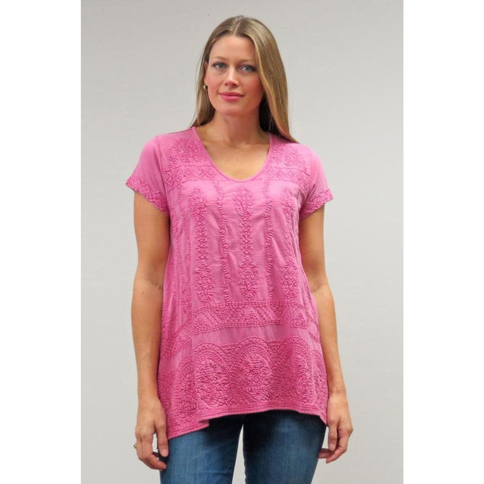 Caite Kiana Red Violet Tonal Embroidered  Top